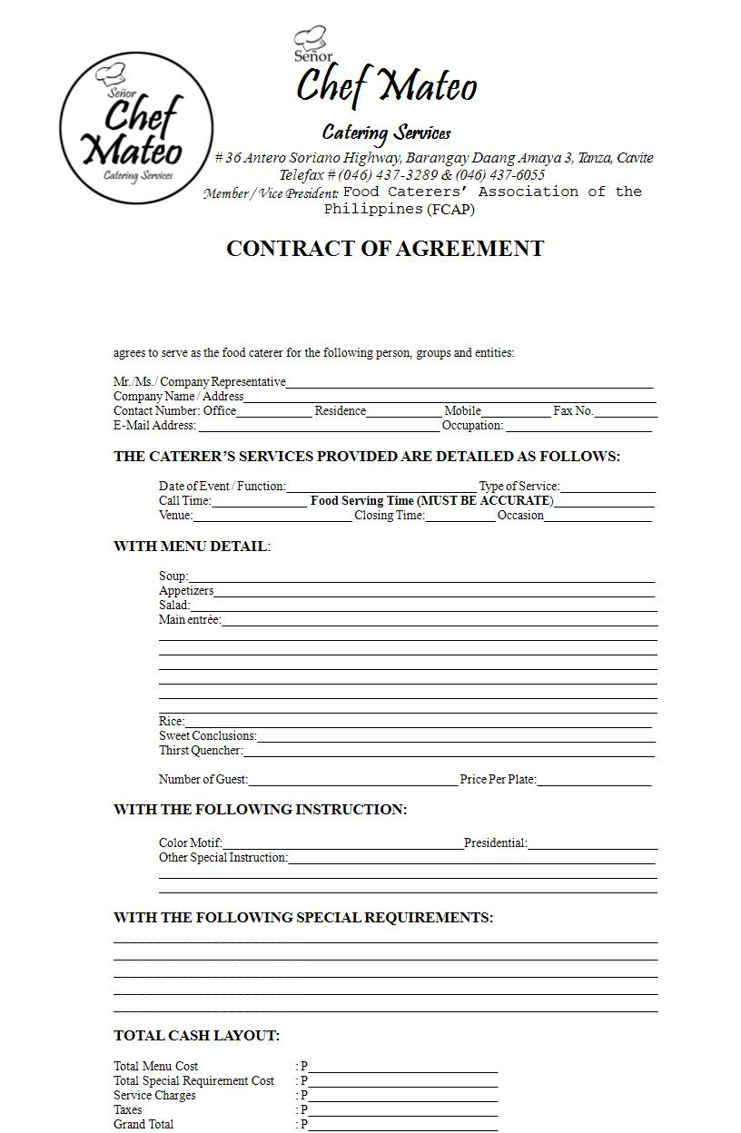 catering services contract agreement form 1