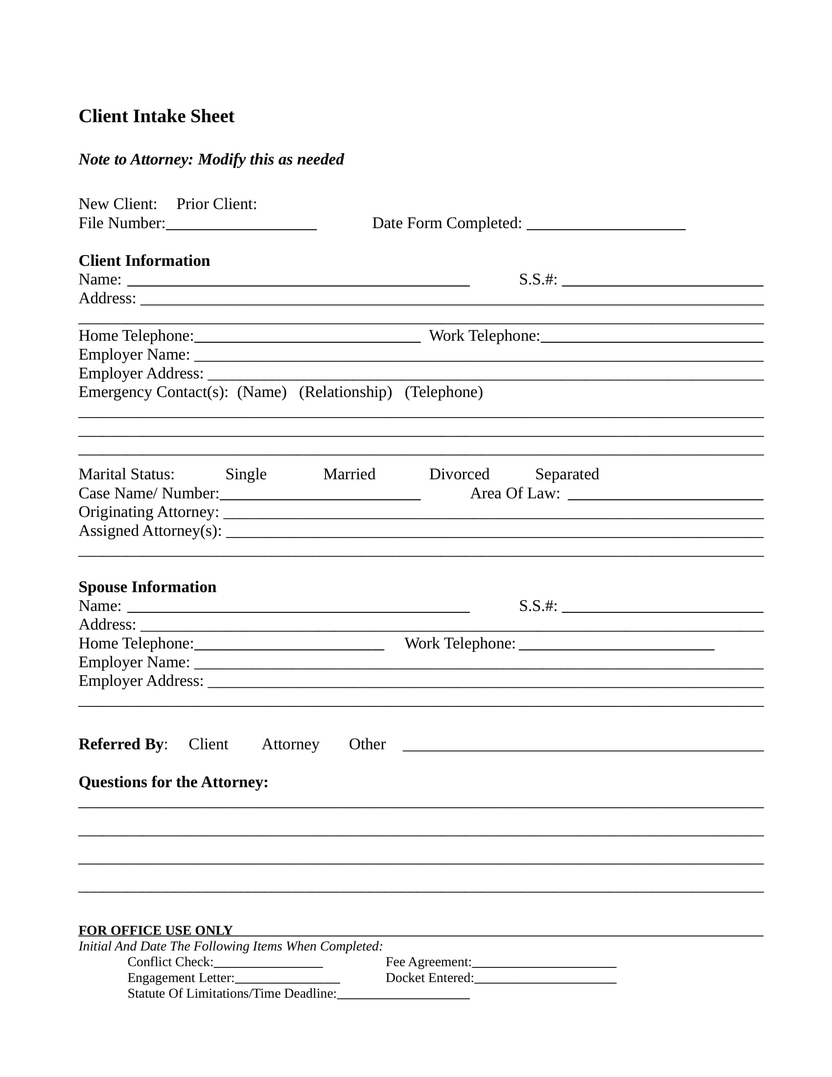 client intake form in doc 1