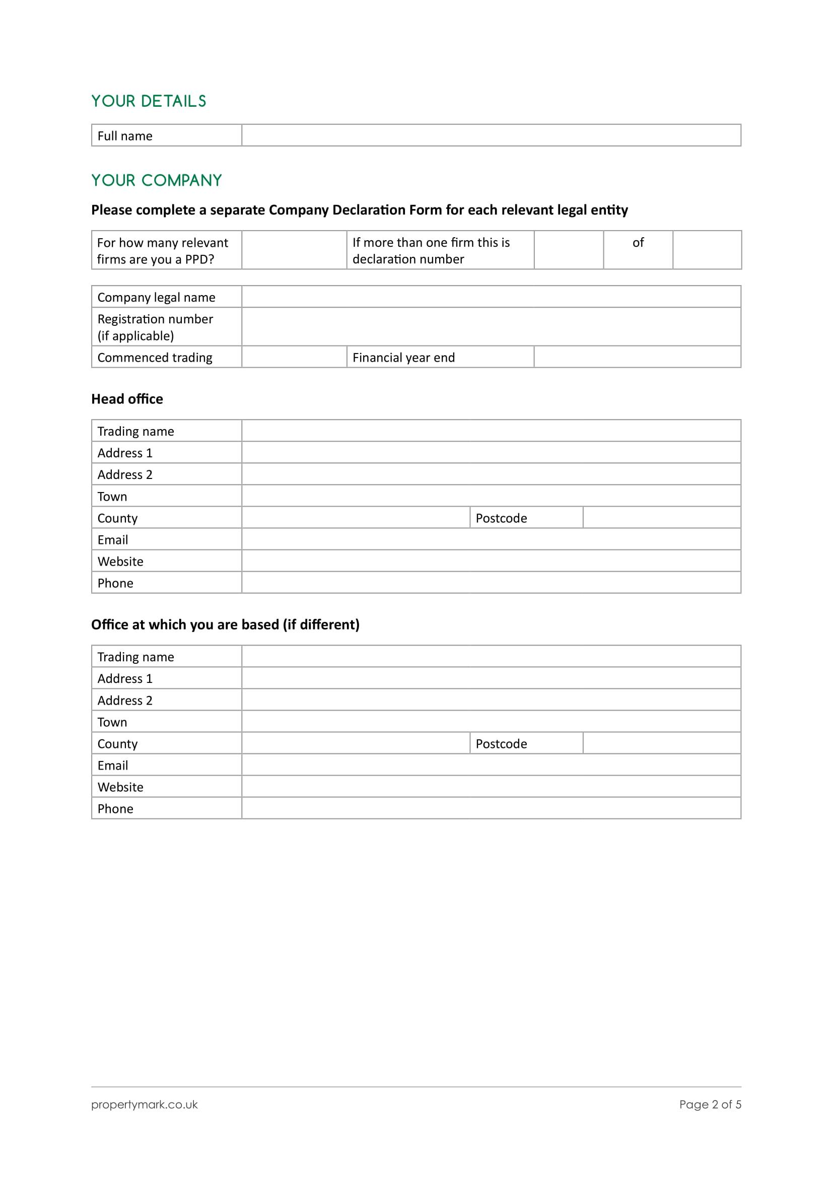 company declaration form 3