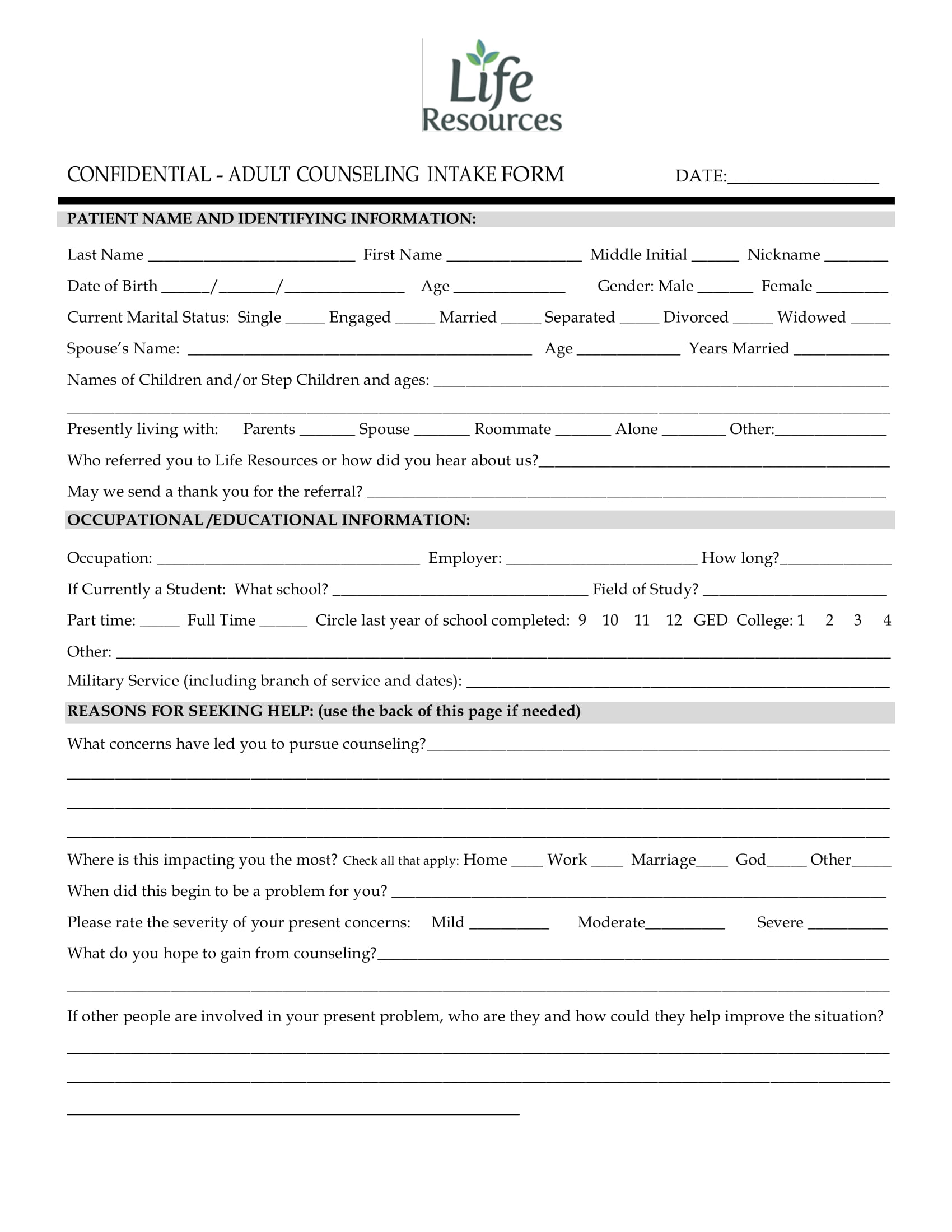 21 Counseling Intake Forms Pdf Doc