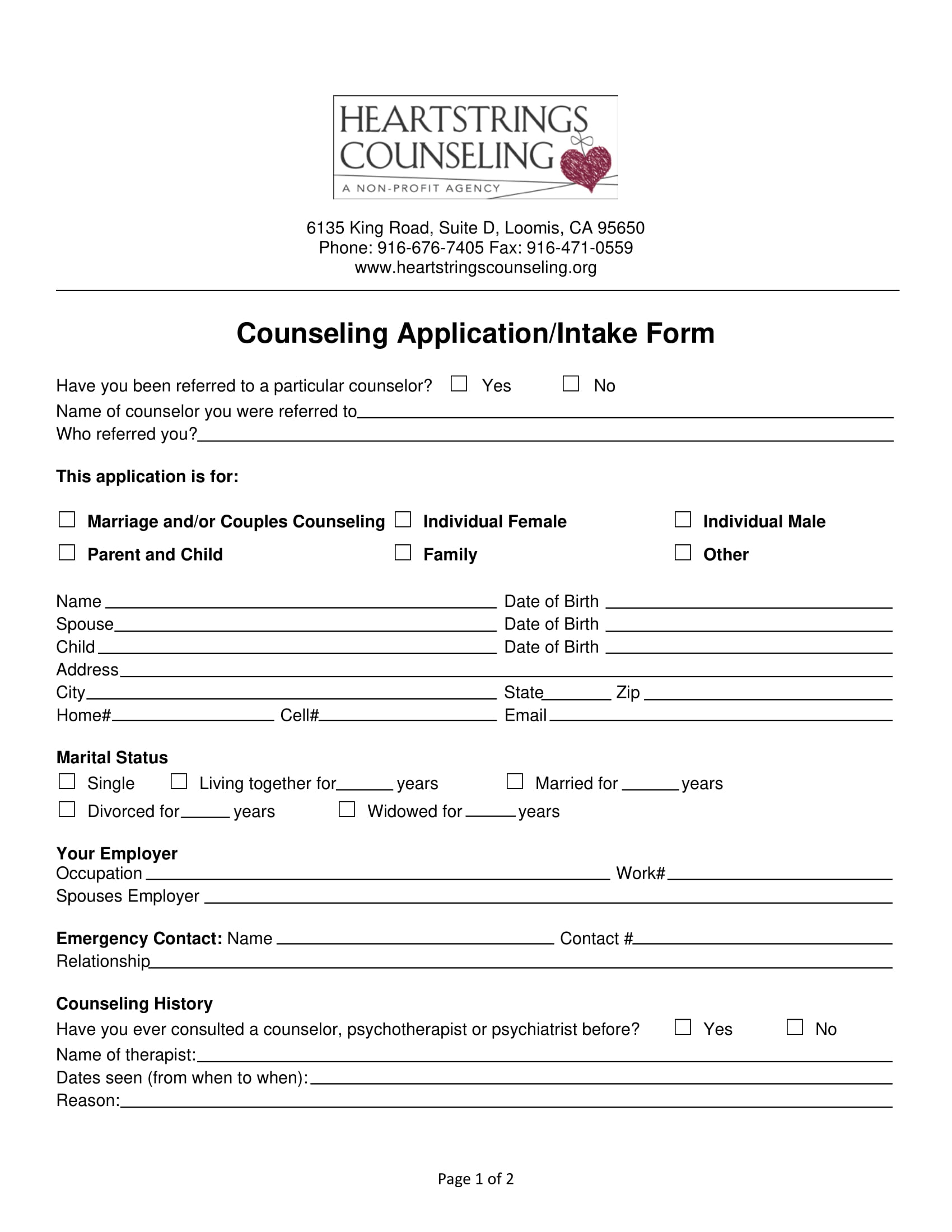 counseling application intake form 1
