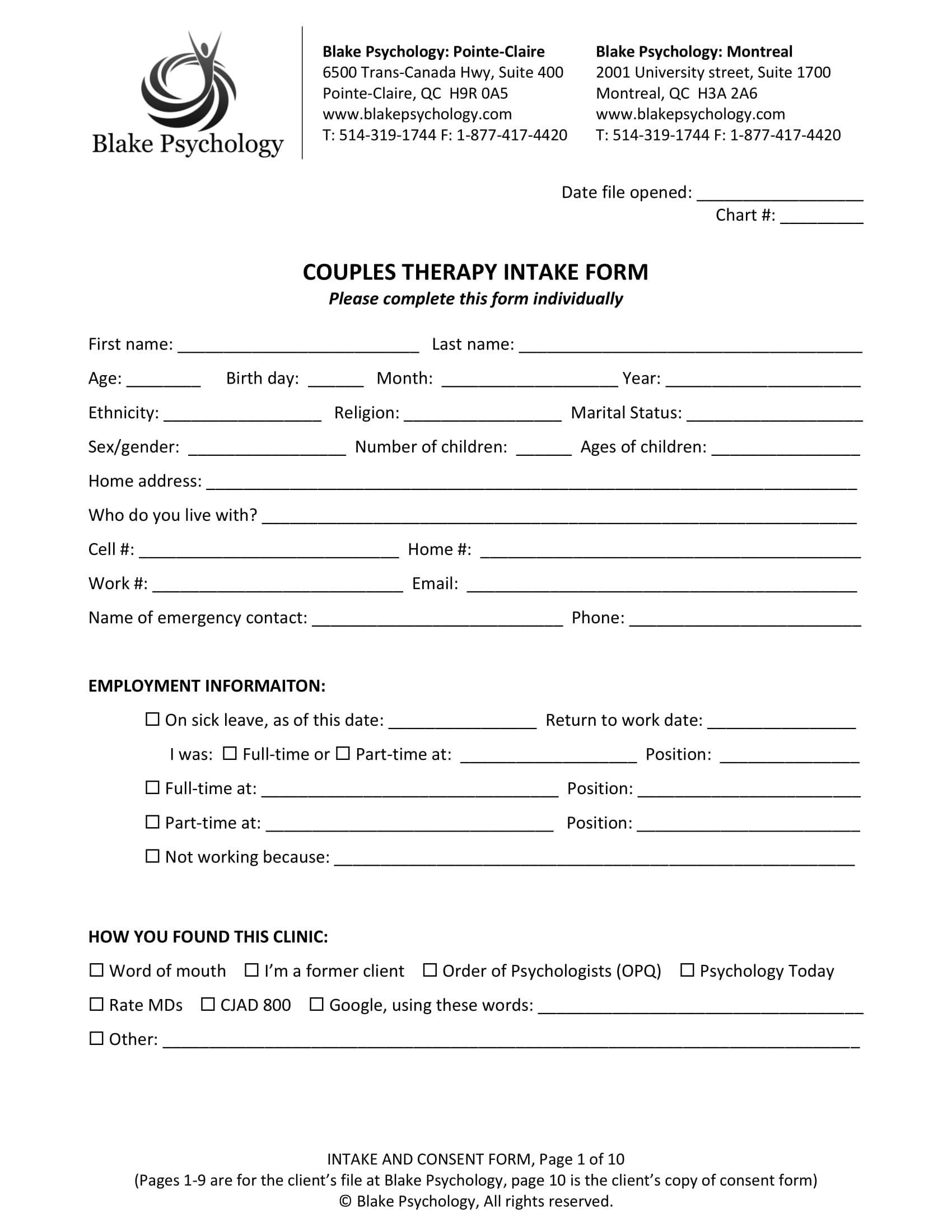 psychotherapy intake form template - sample psychology intake form related keywords sample