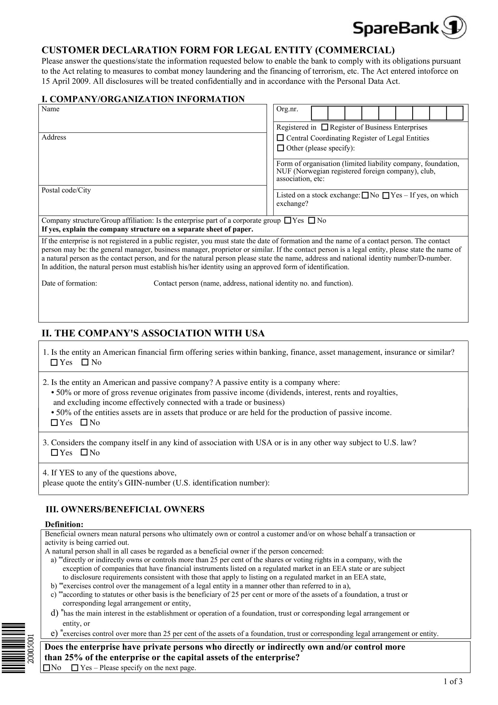 customer declaration form for legal entity 1