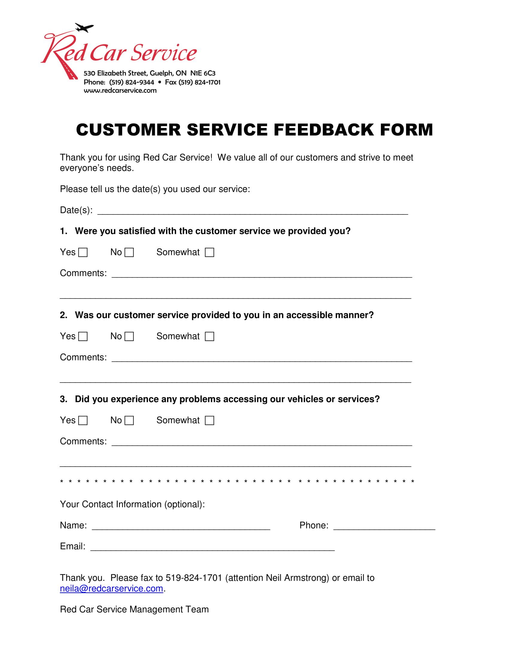 customer service feedback form 1
