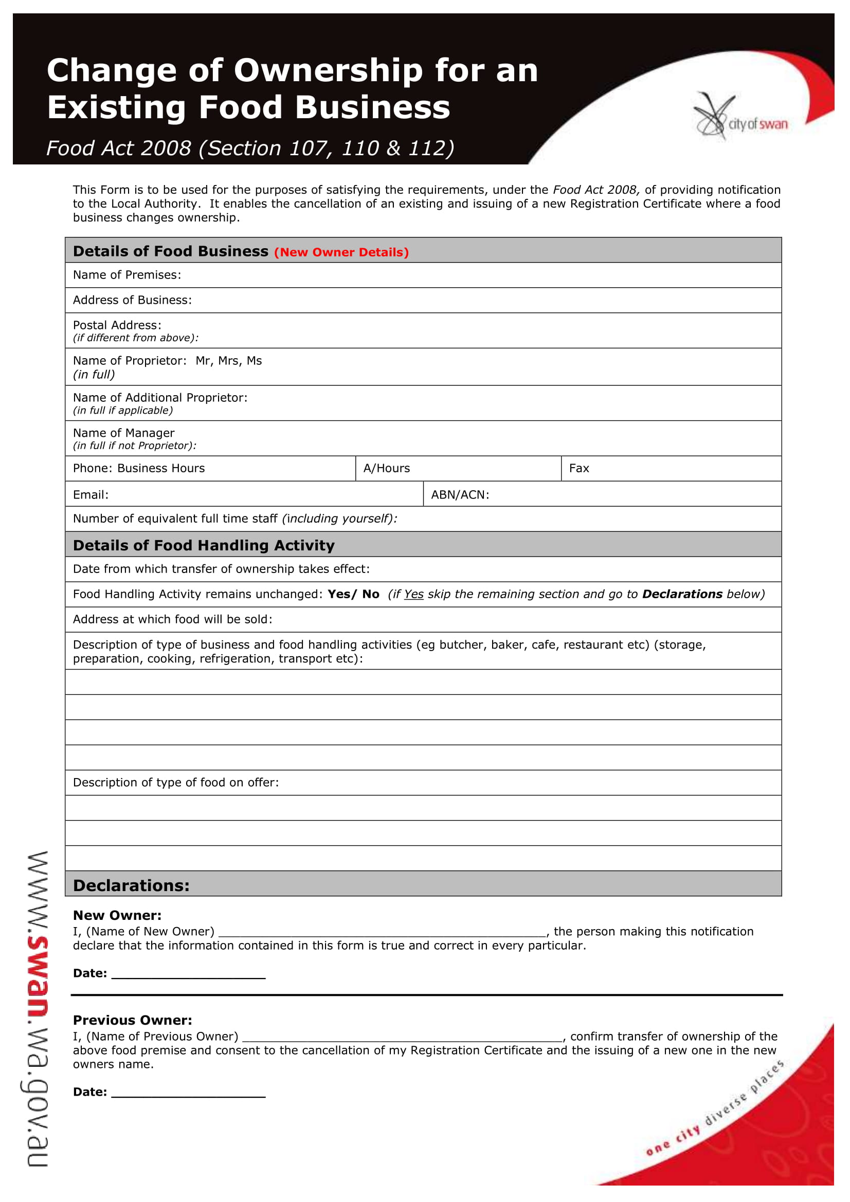 existing food business change of ownership form 1