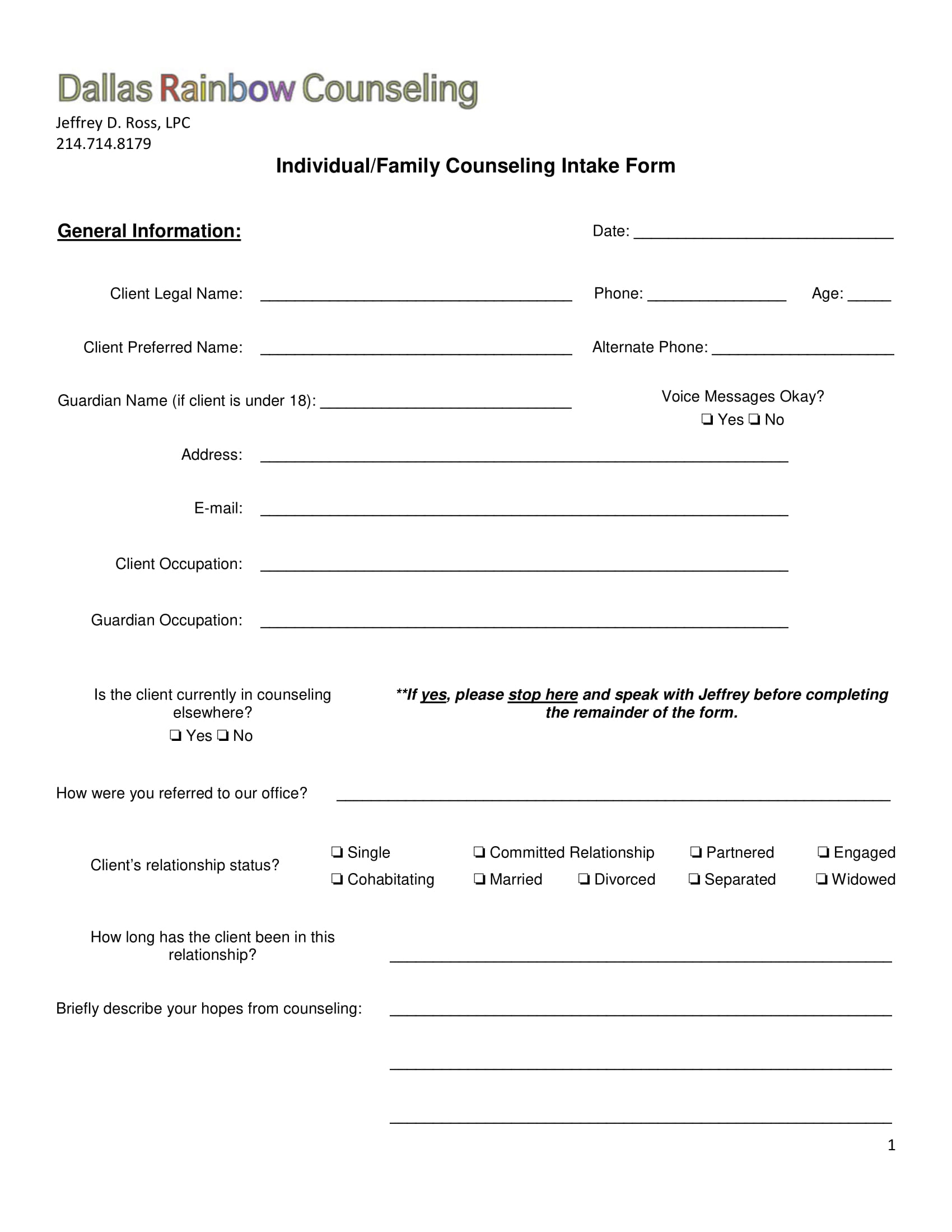 family counseling intake form 1