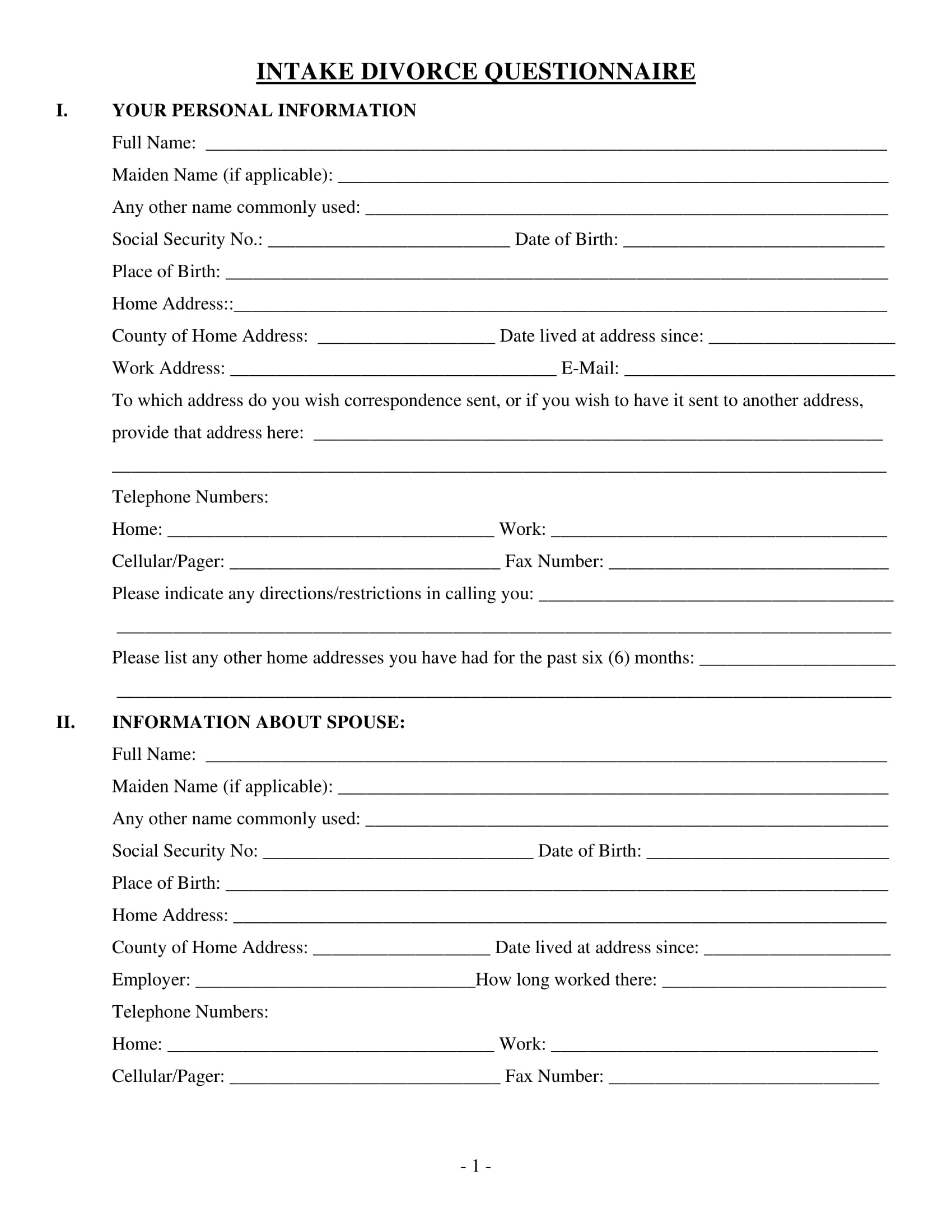 family law intake divorce questionnaire form 1