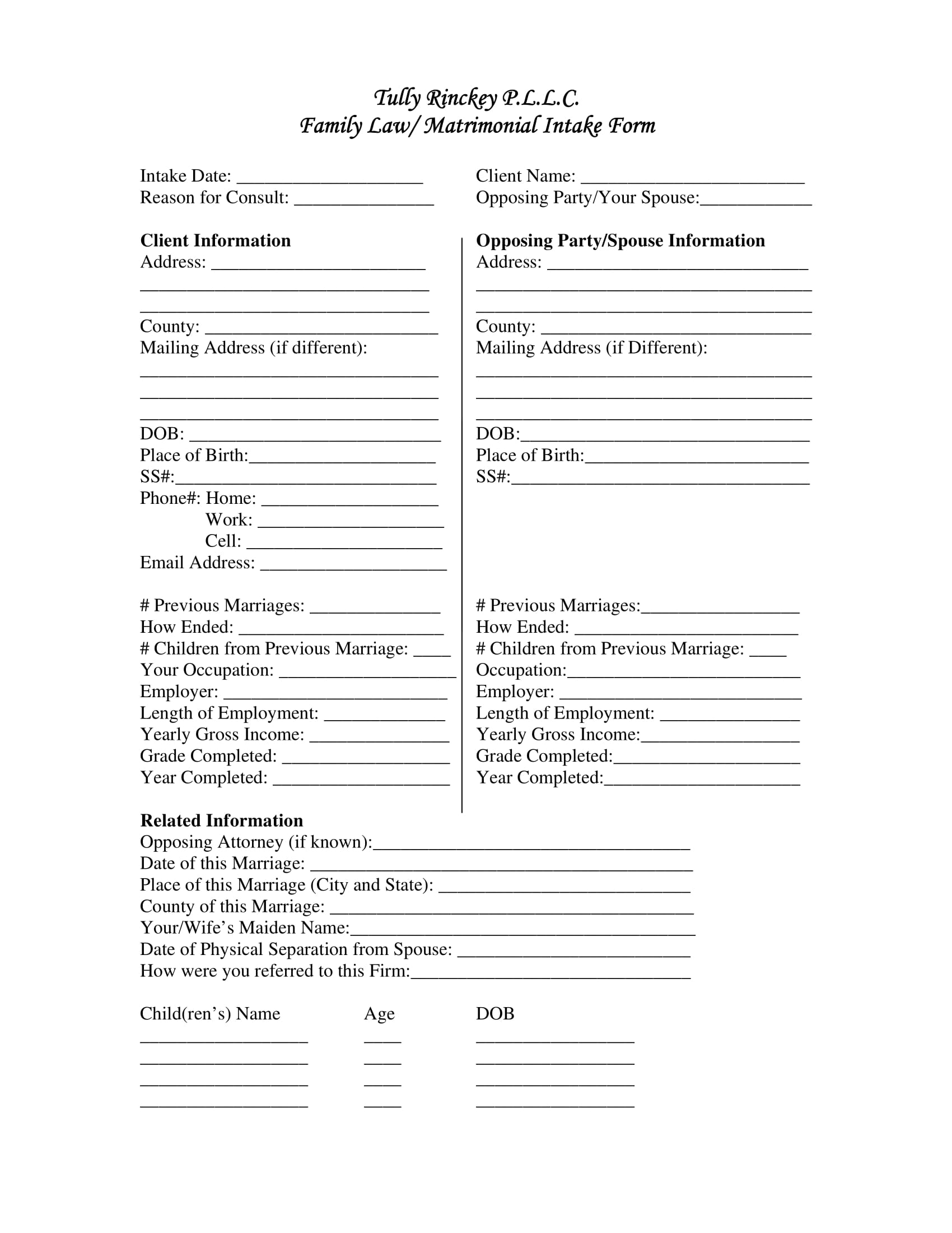 family law matrimonial intake form 1