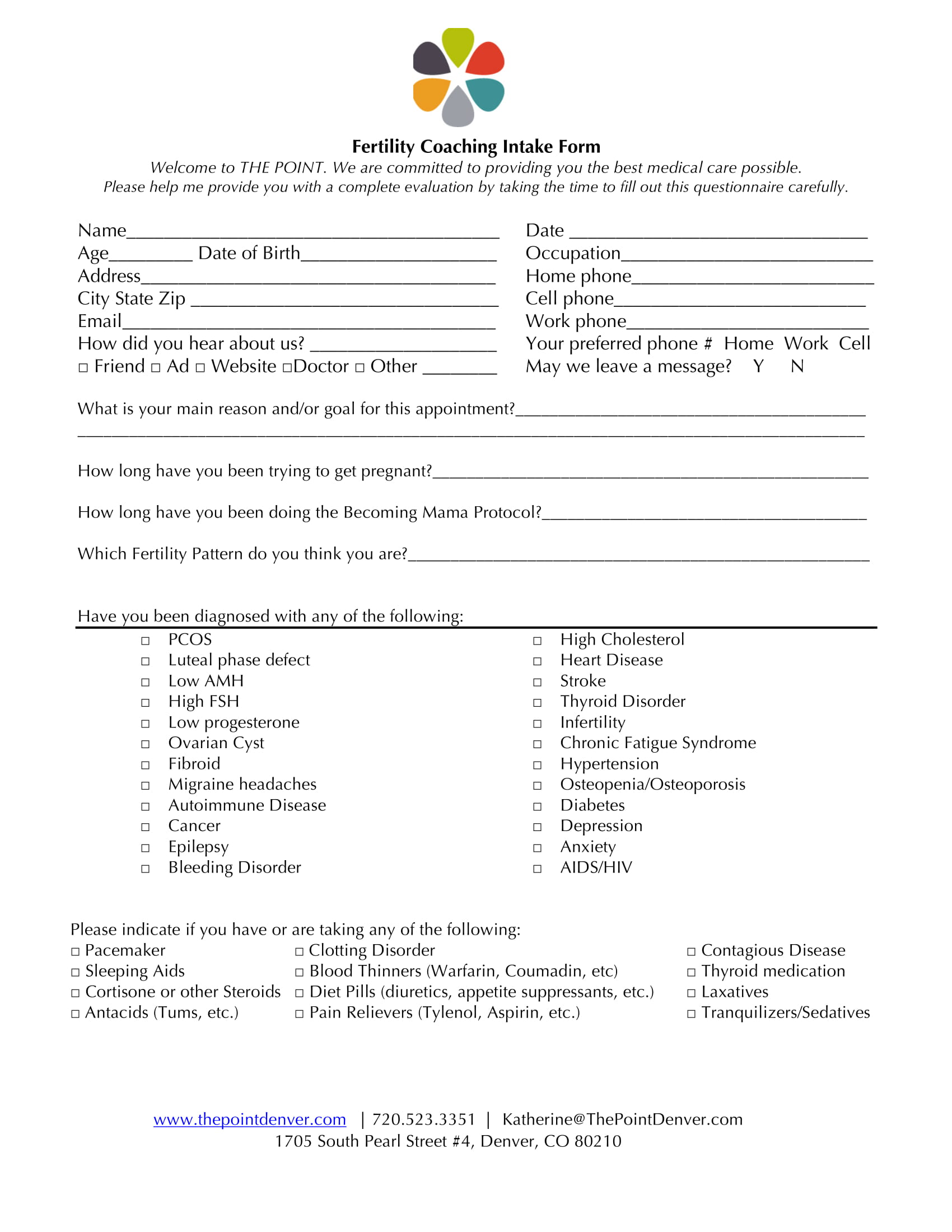 fertility coaching intake form 1