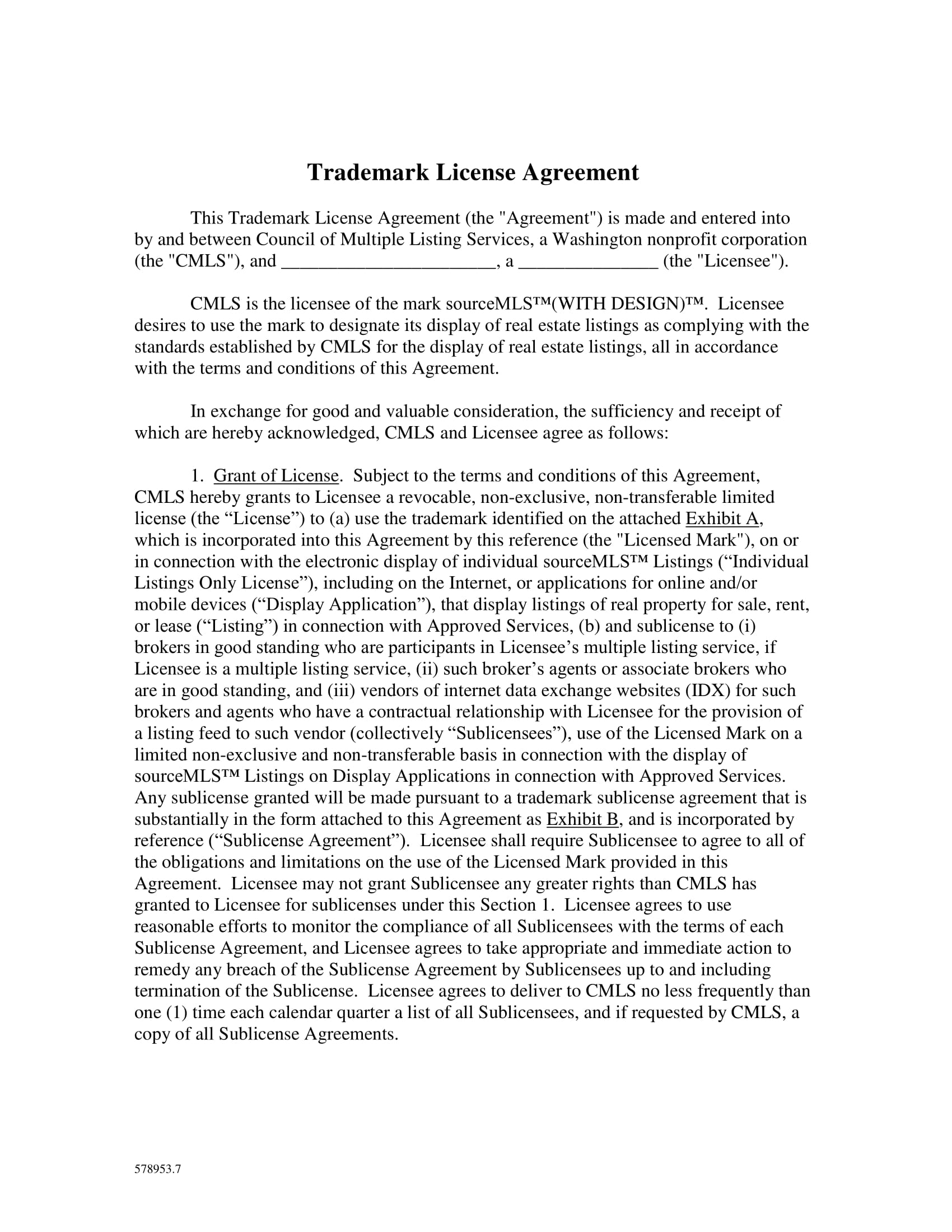 fillable trademark license agreement 01