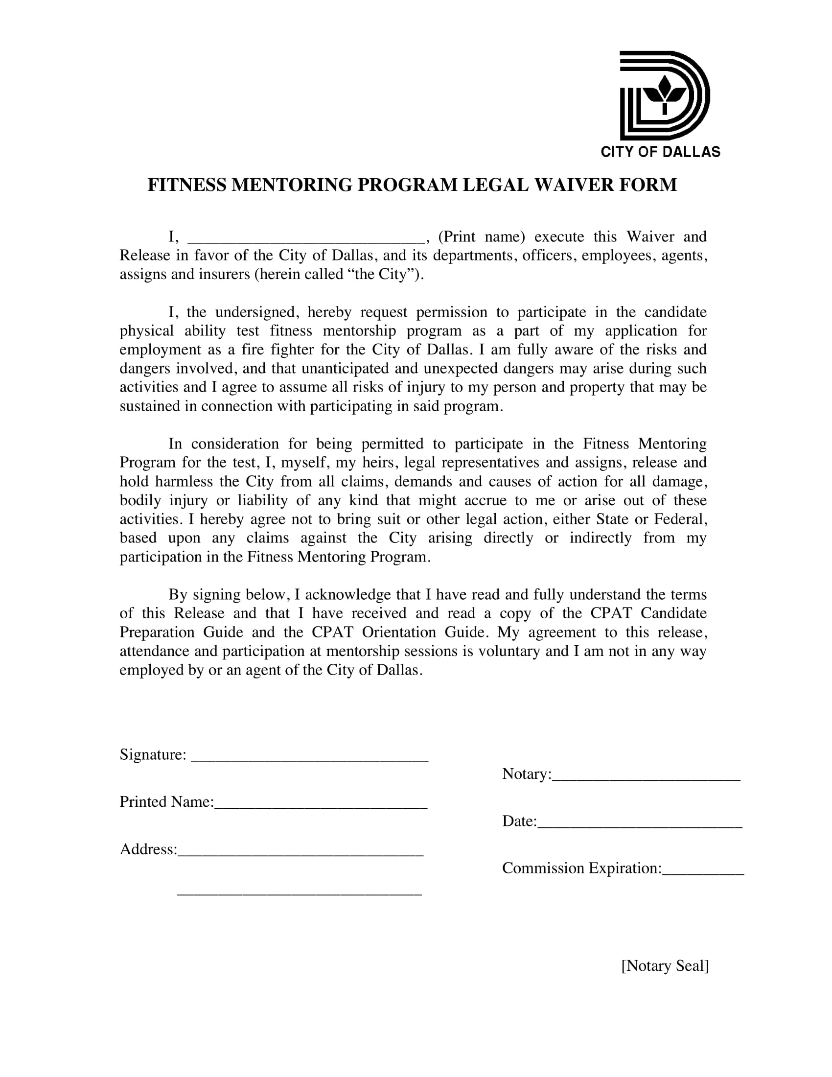 fitness mentoring legal waiver form 1