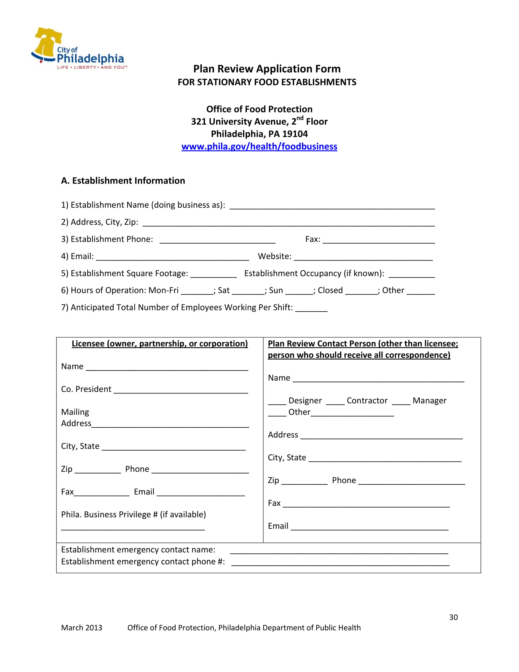 food establishment plan review form 30