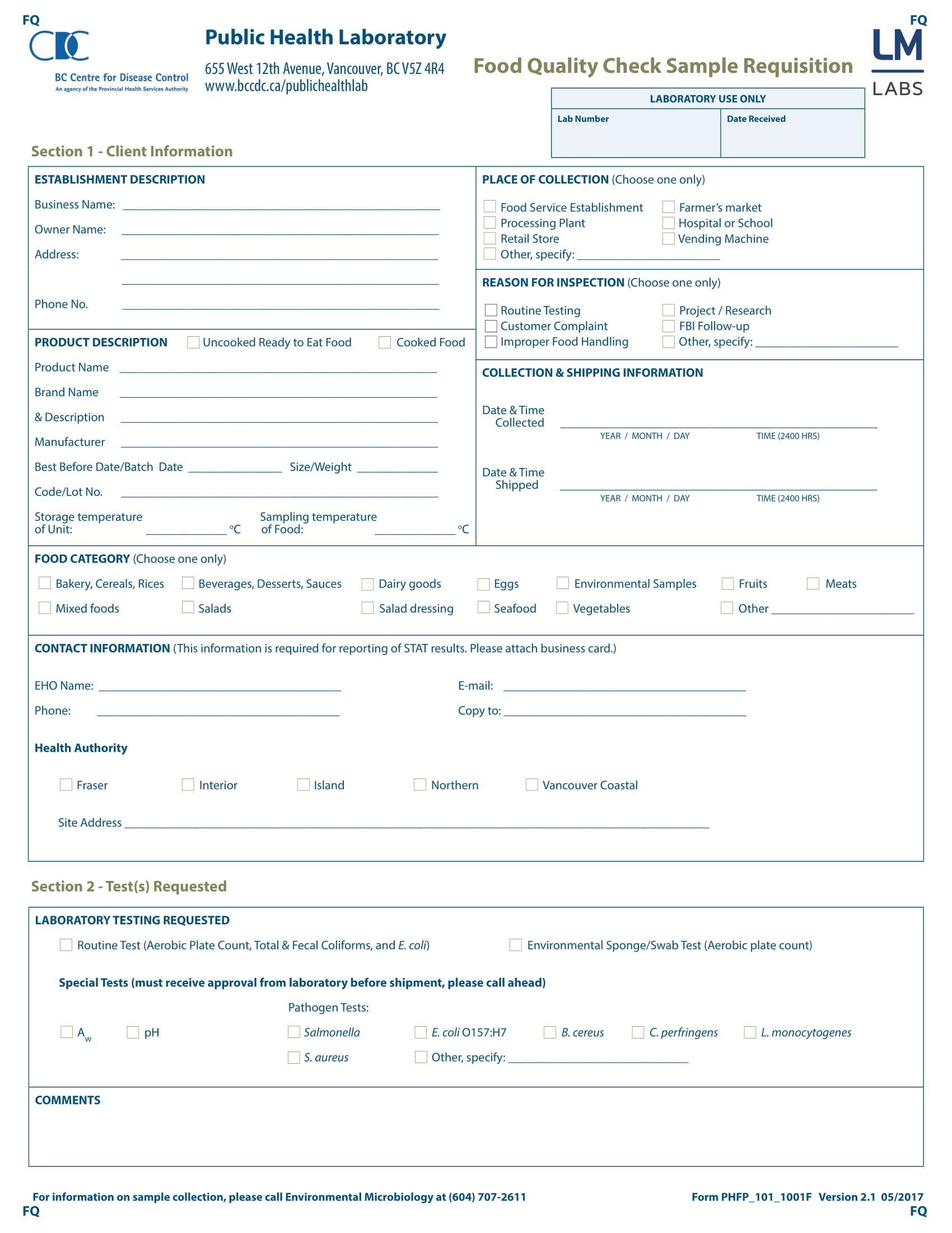 food quality check requisition form 1