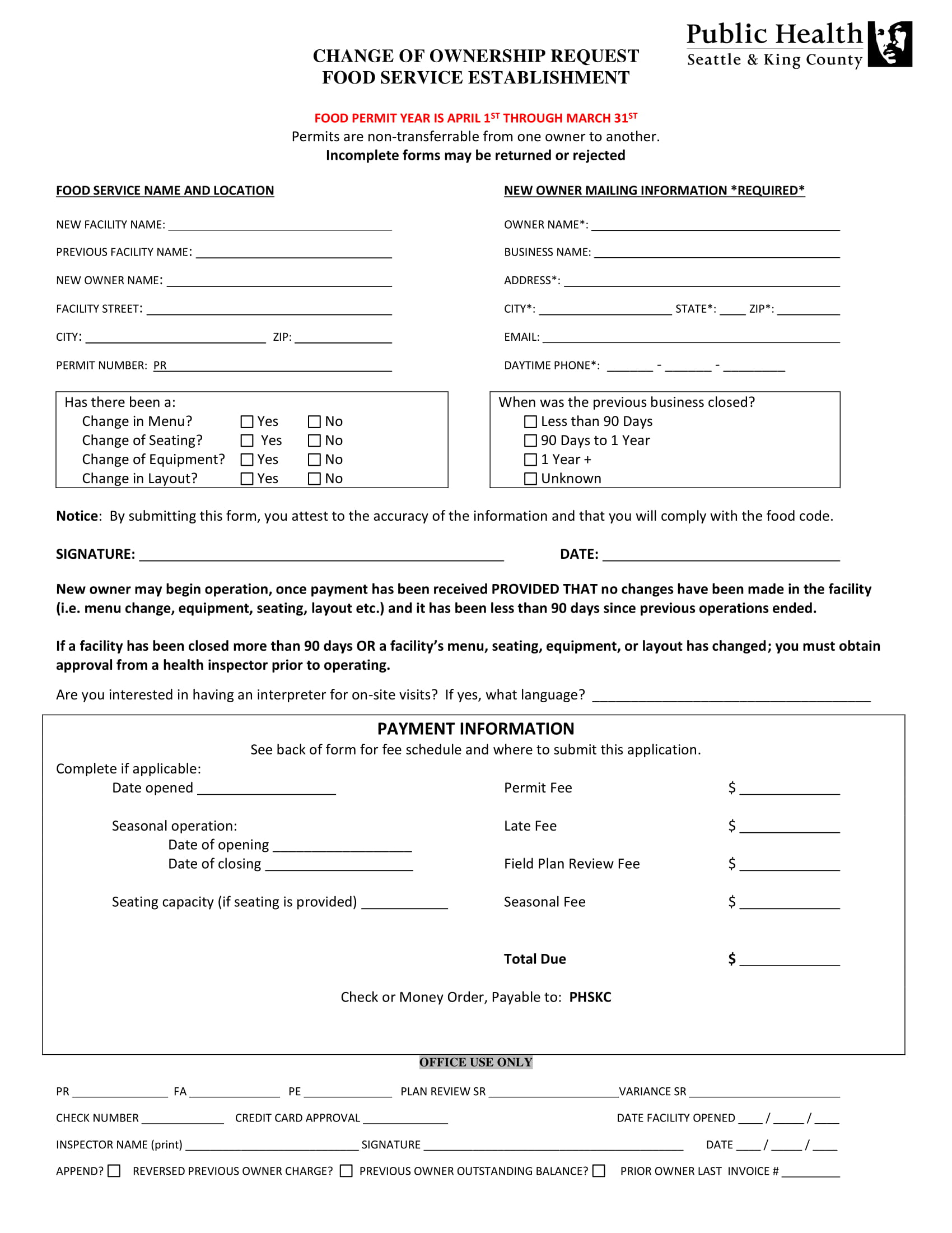 food service establishment change of ownership request form 1