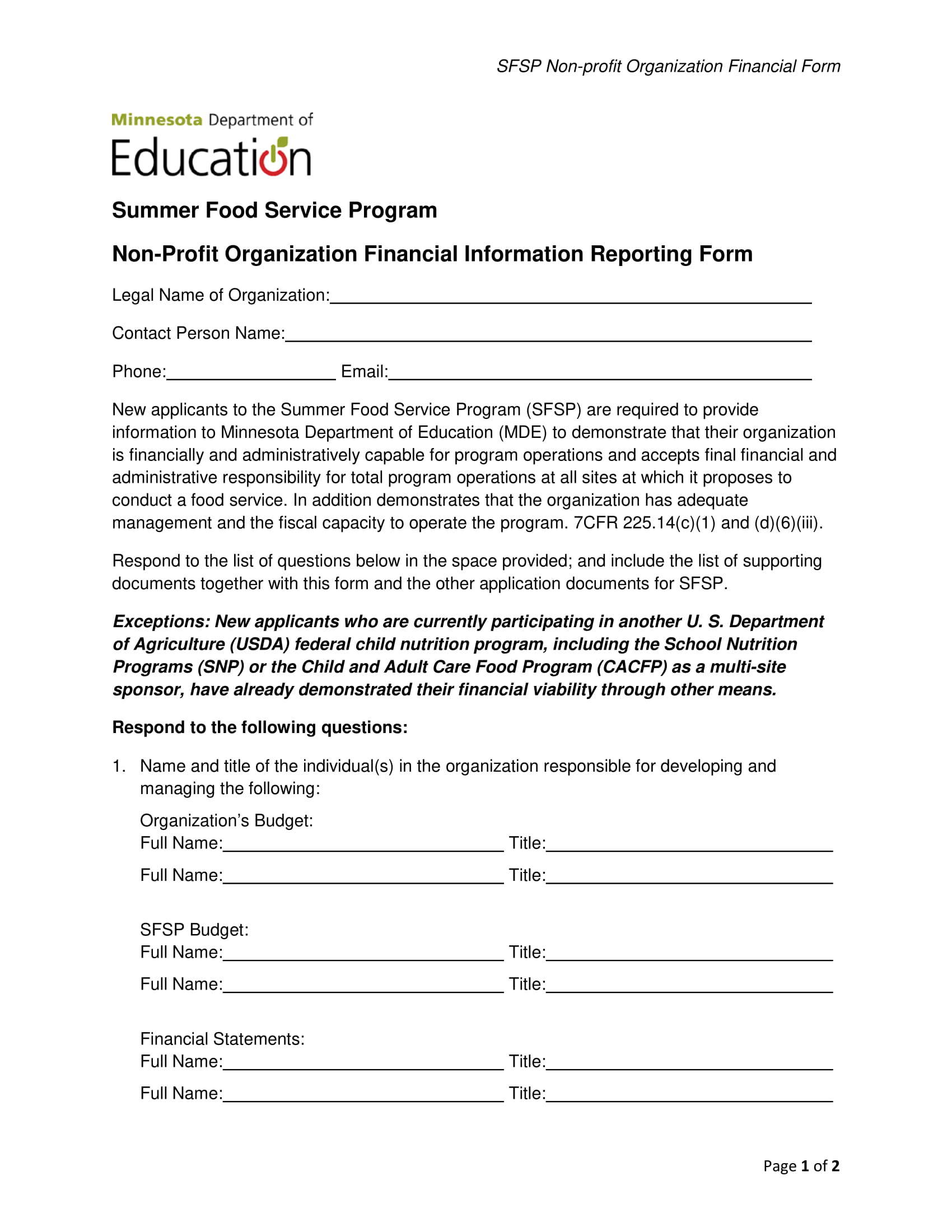 food service financial information reporting form 12