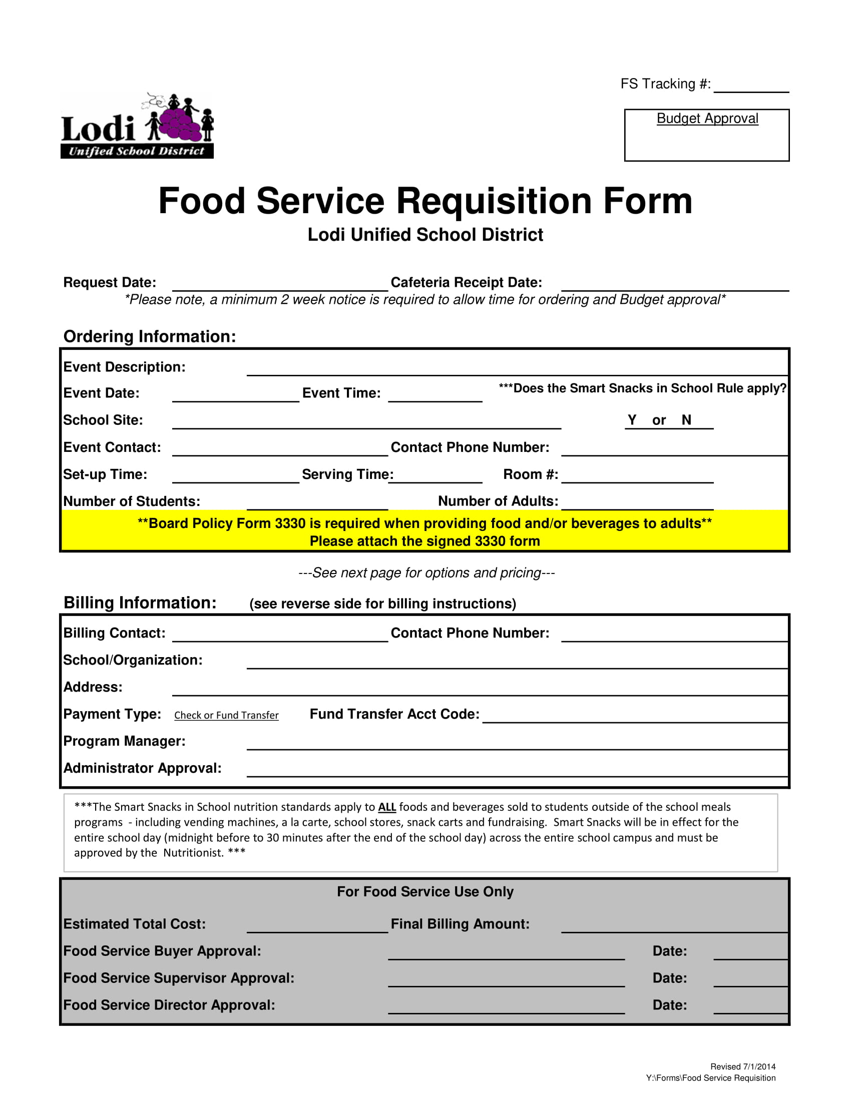 food service requisition form 1