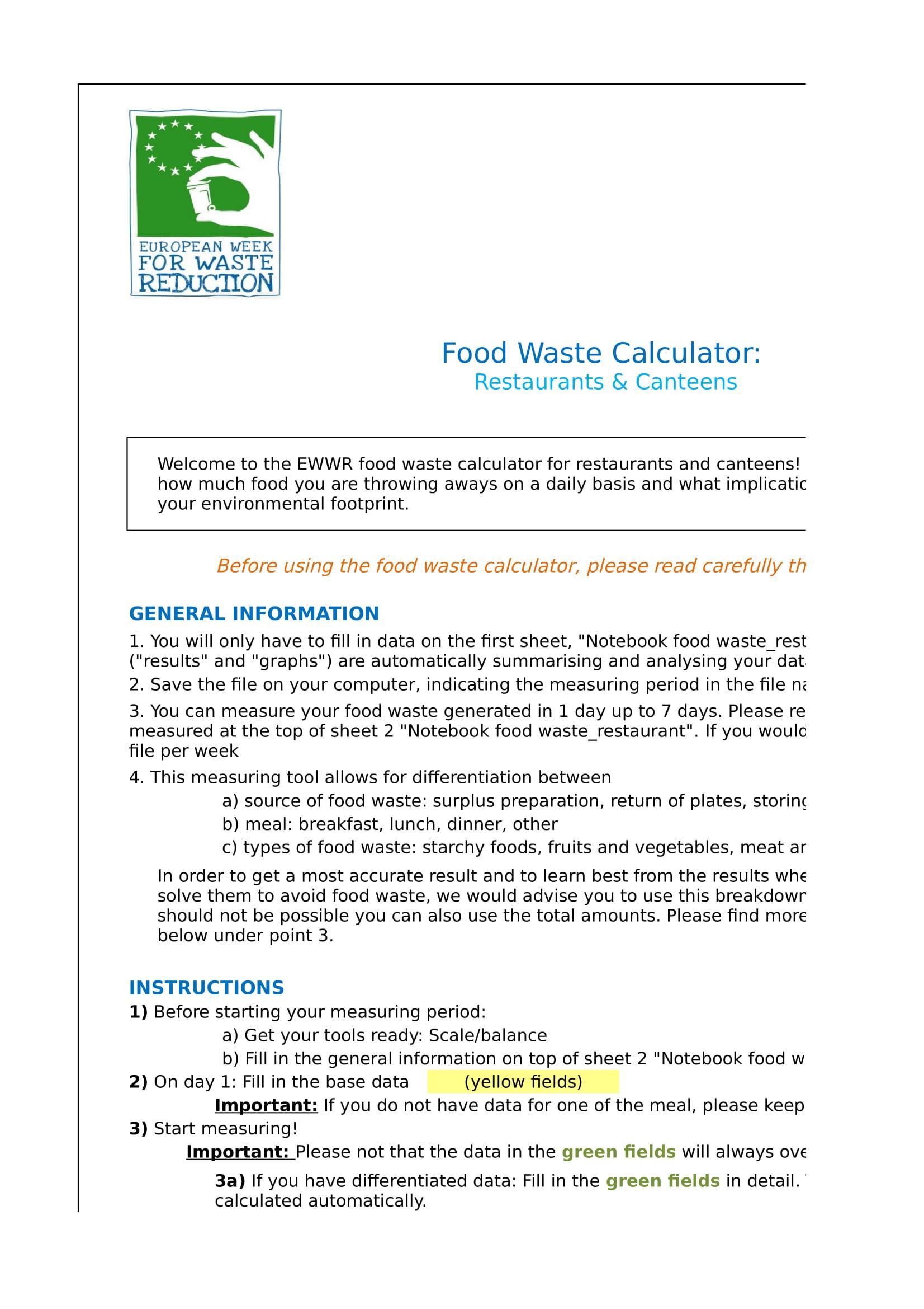 food waste calculator form 01