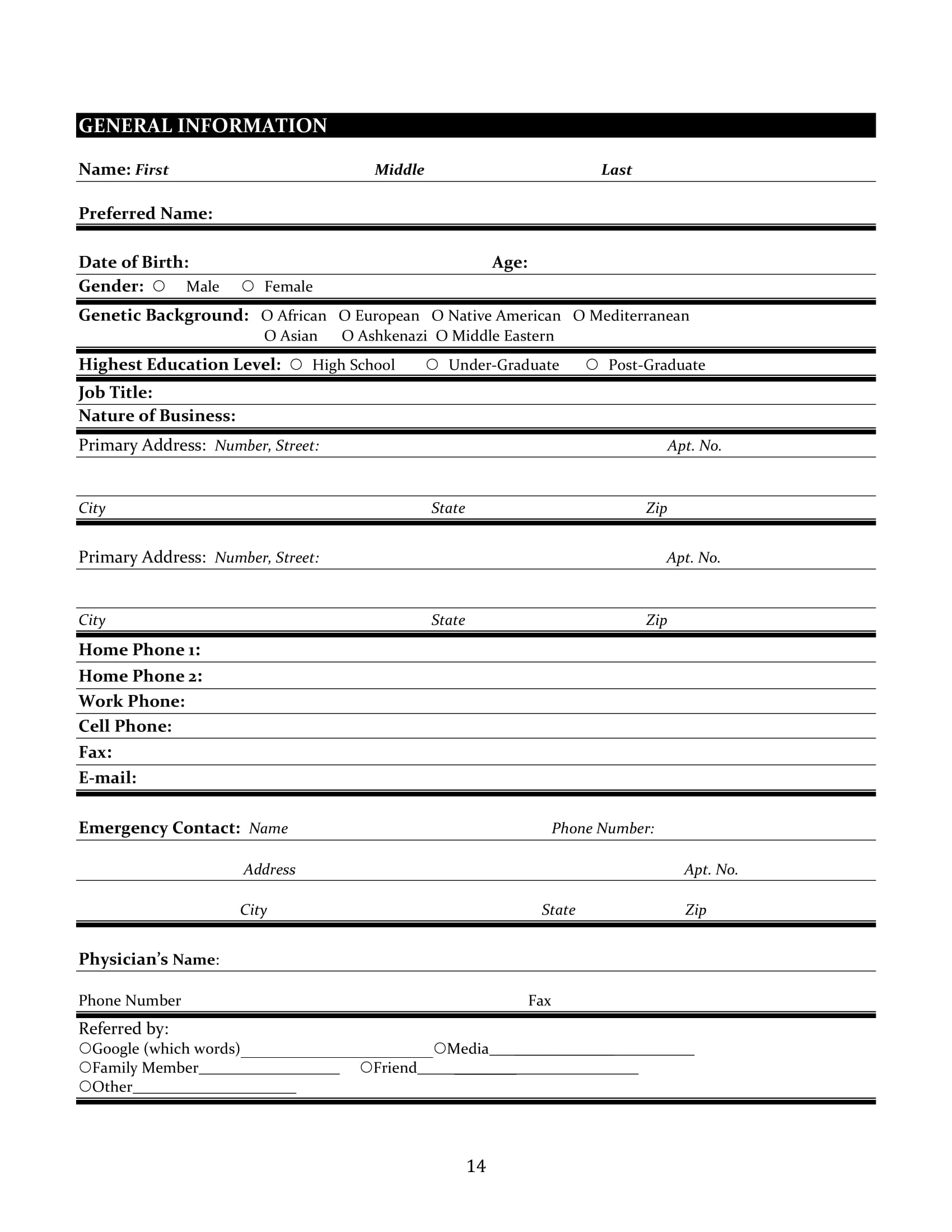 functional medicine adult patient intake form 14