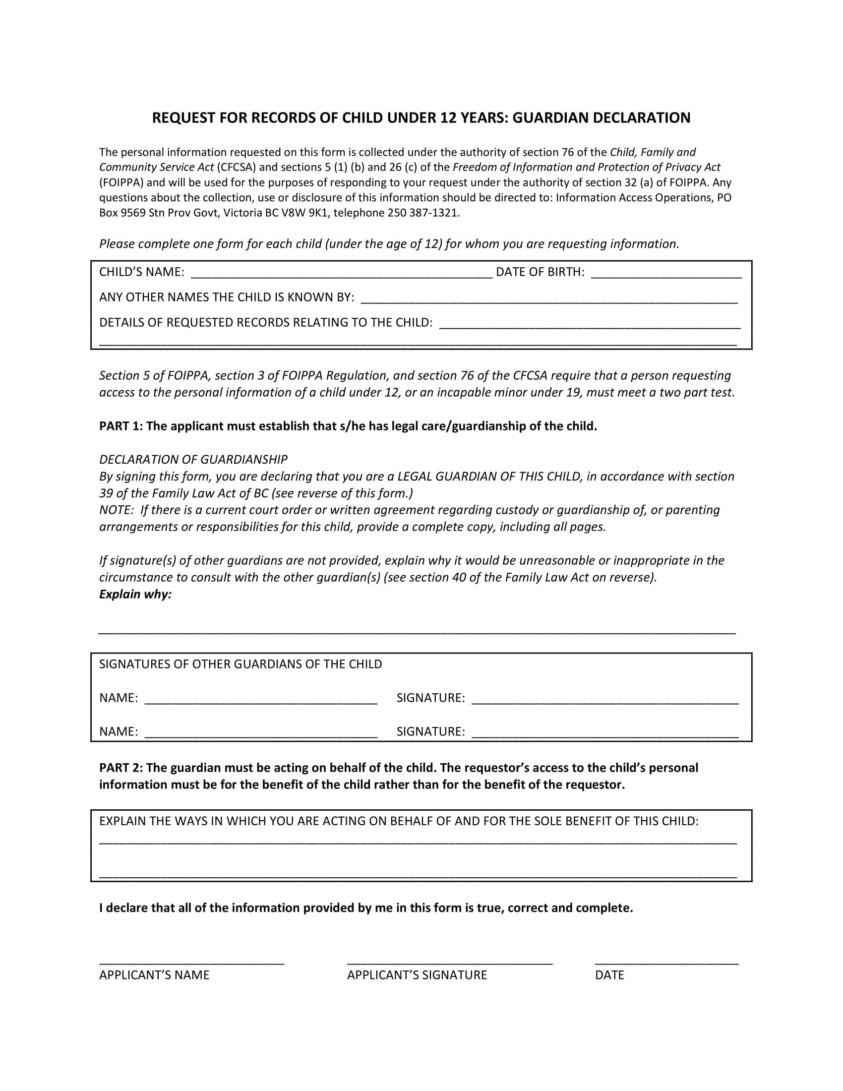 guardian declaration form 1