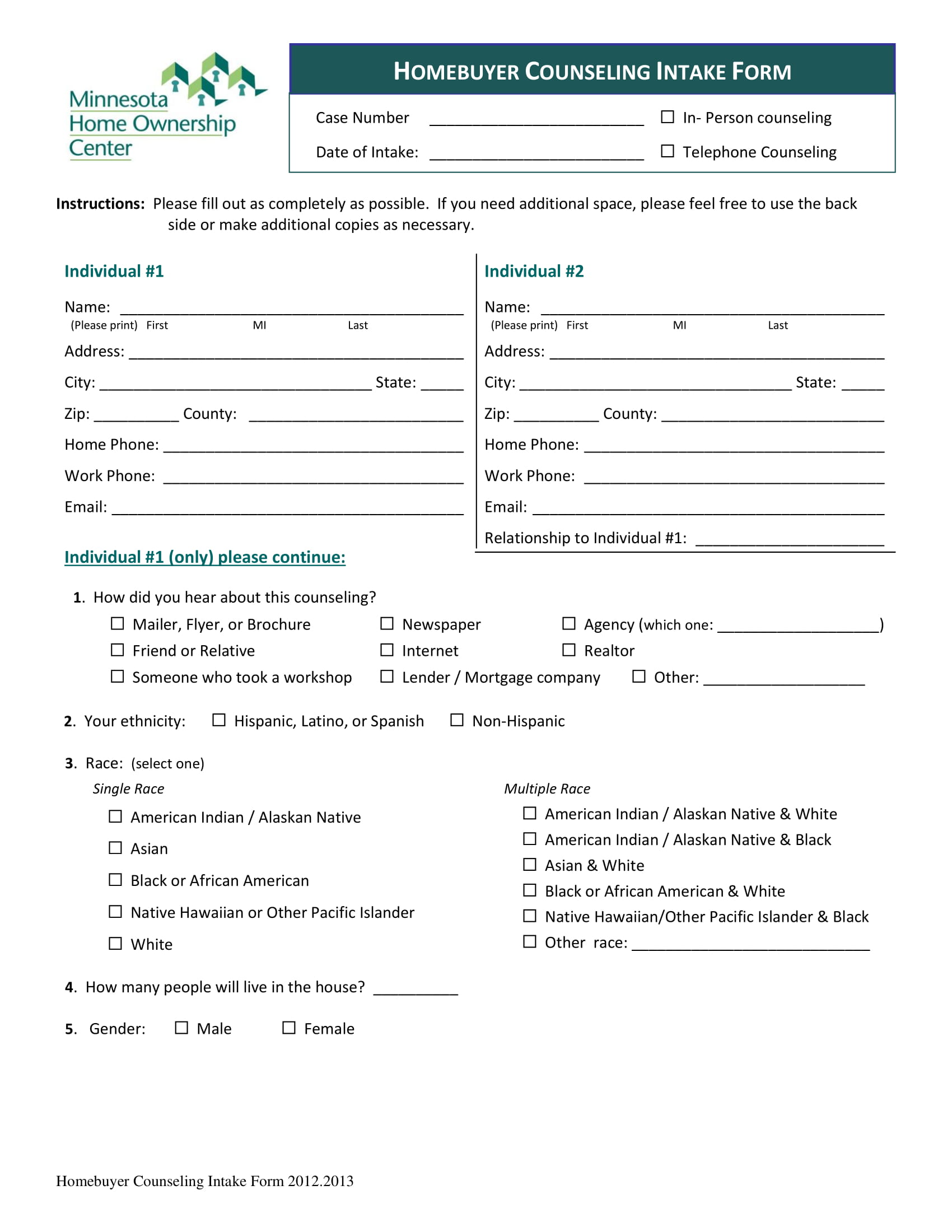 homebuyer counseling intake form 1