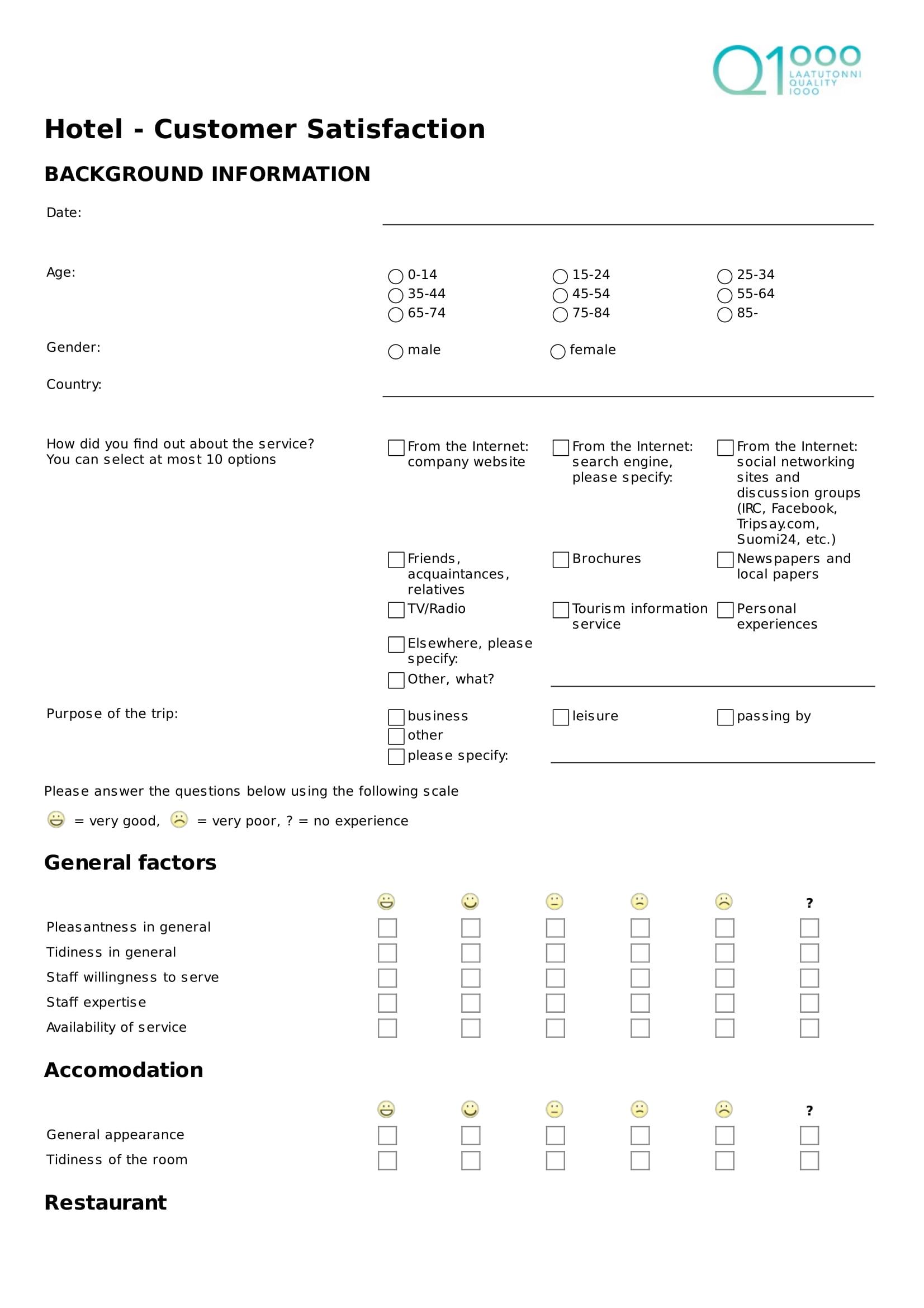 hotel customer satisfaction feedback form 1