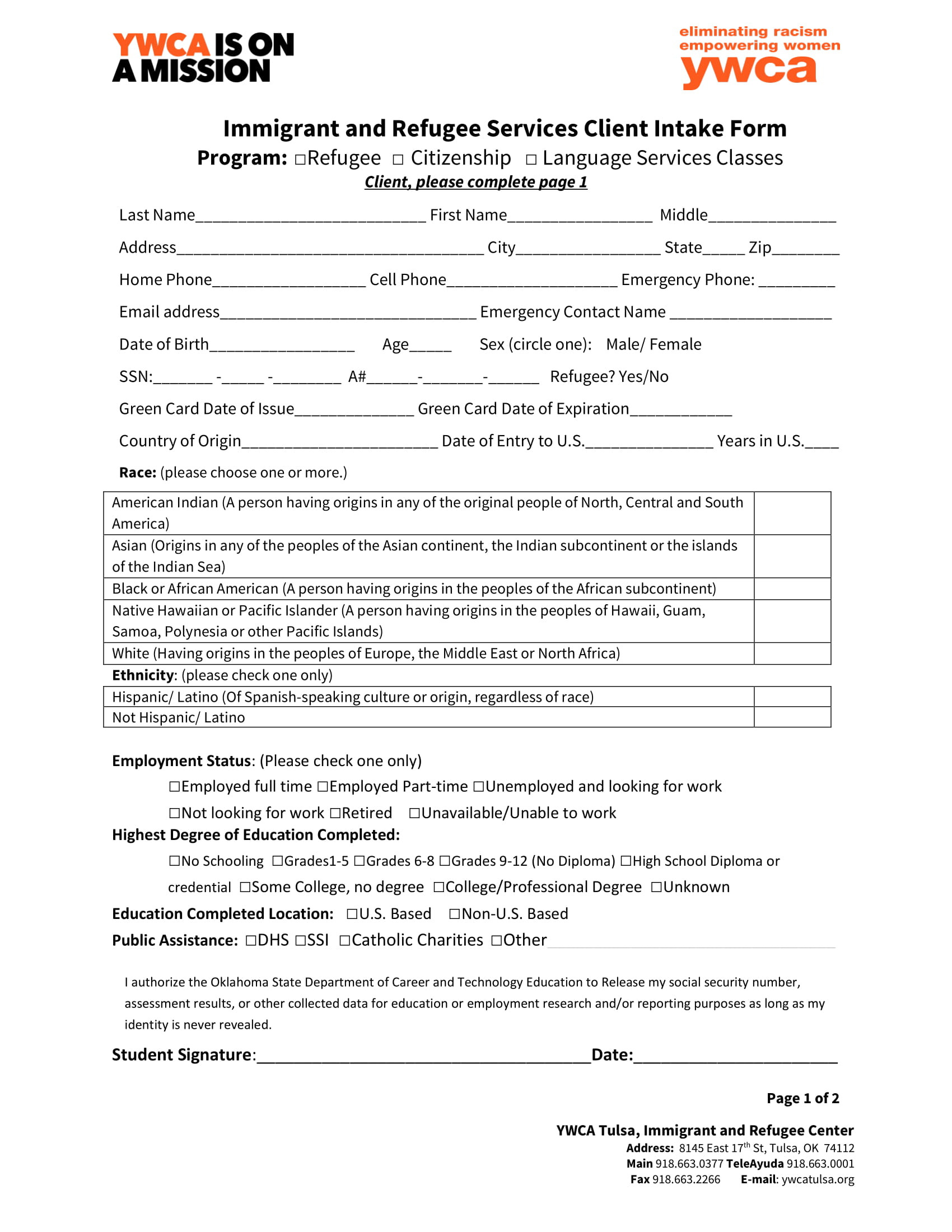 immigrant services client intake form 1