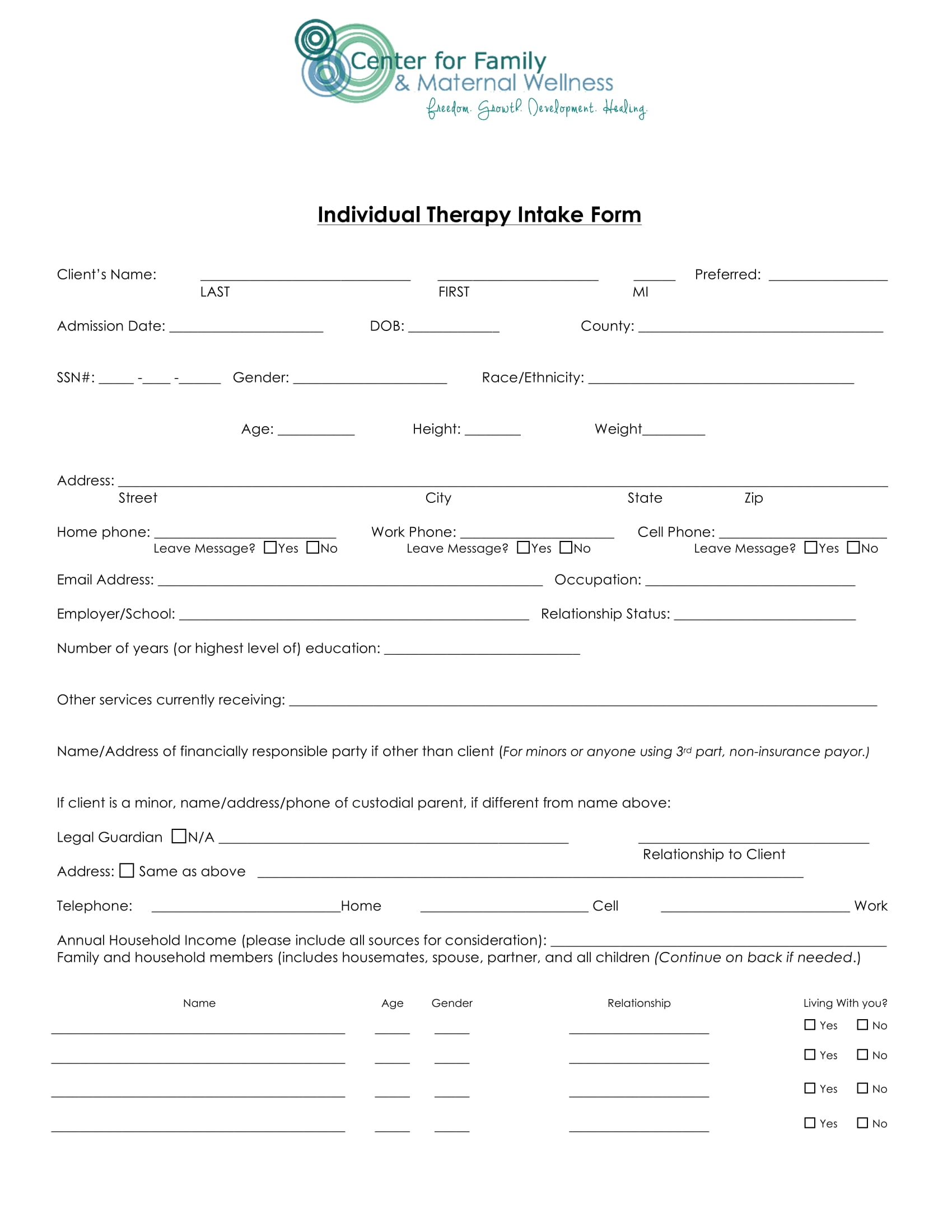 individual therapy intake form 1