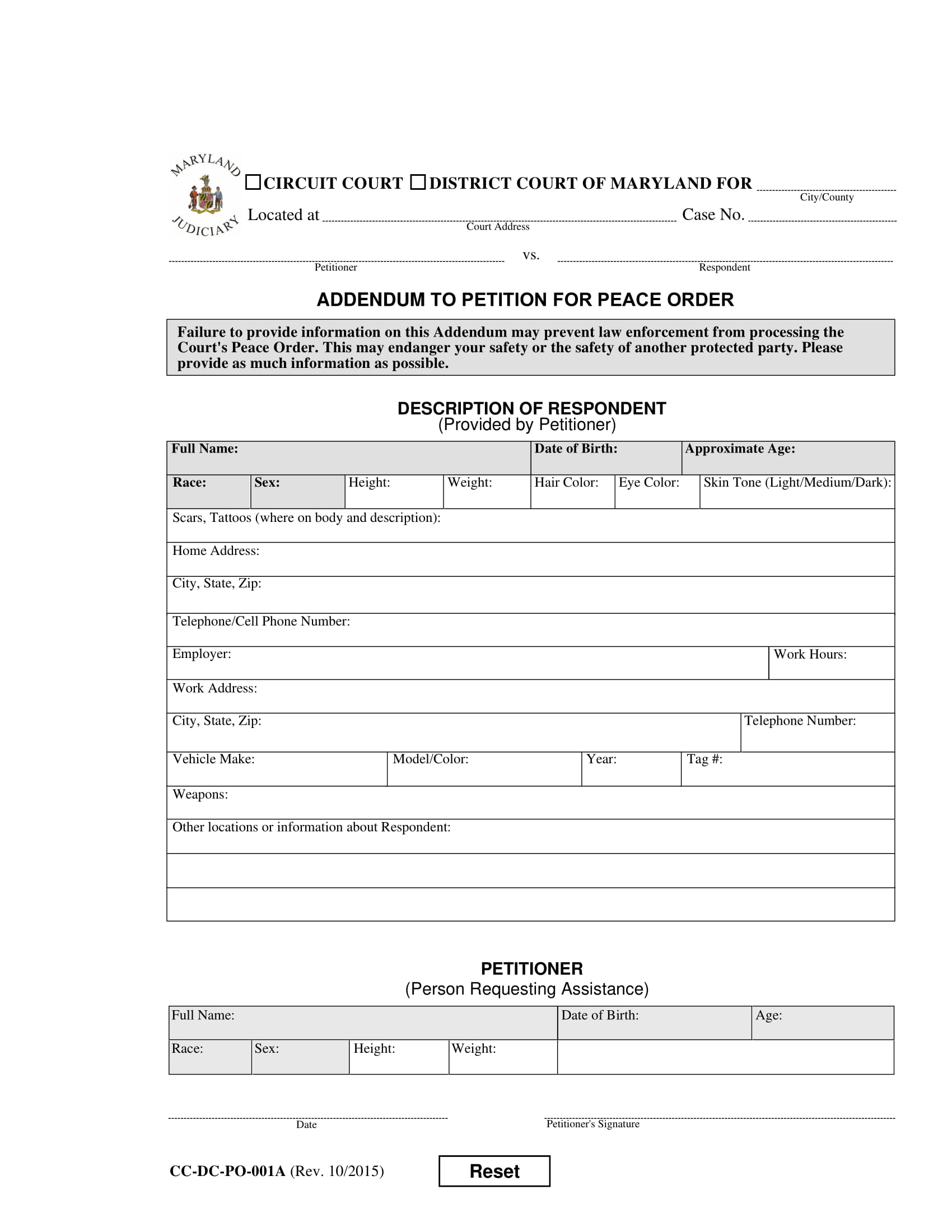 legal petition for peace order form 1