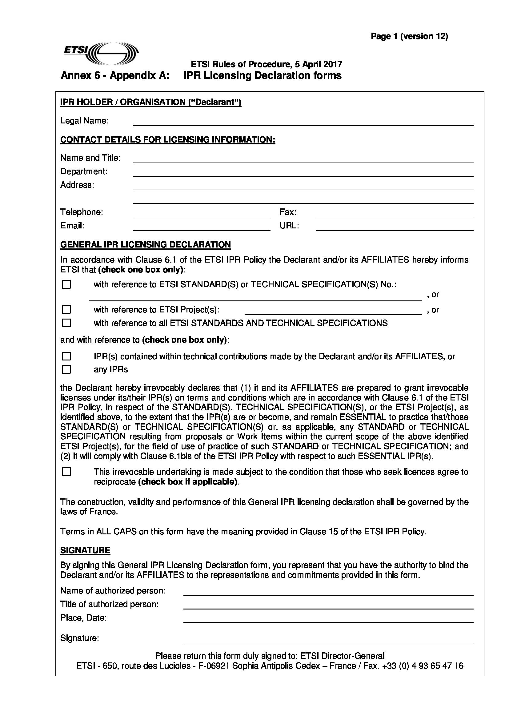 licensing declaration form 1