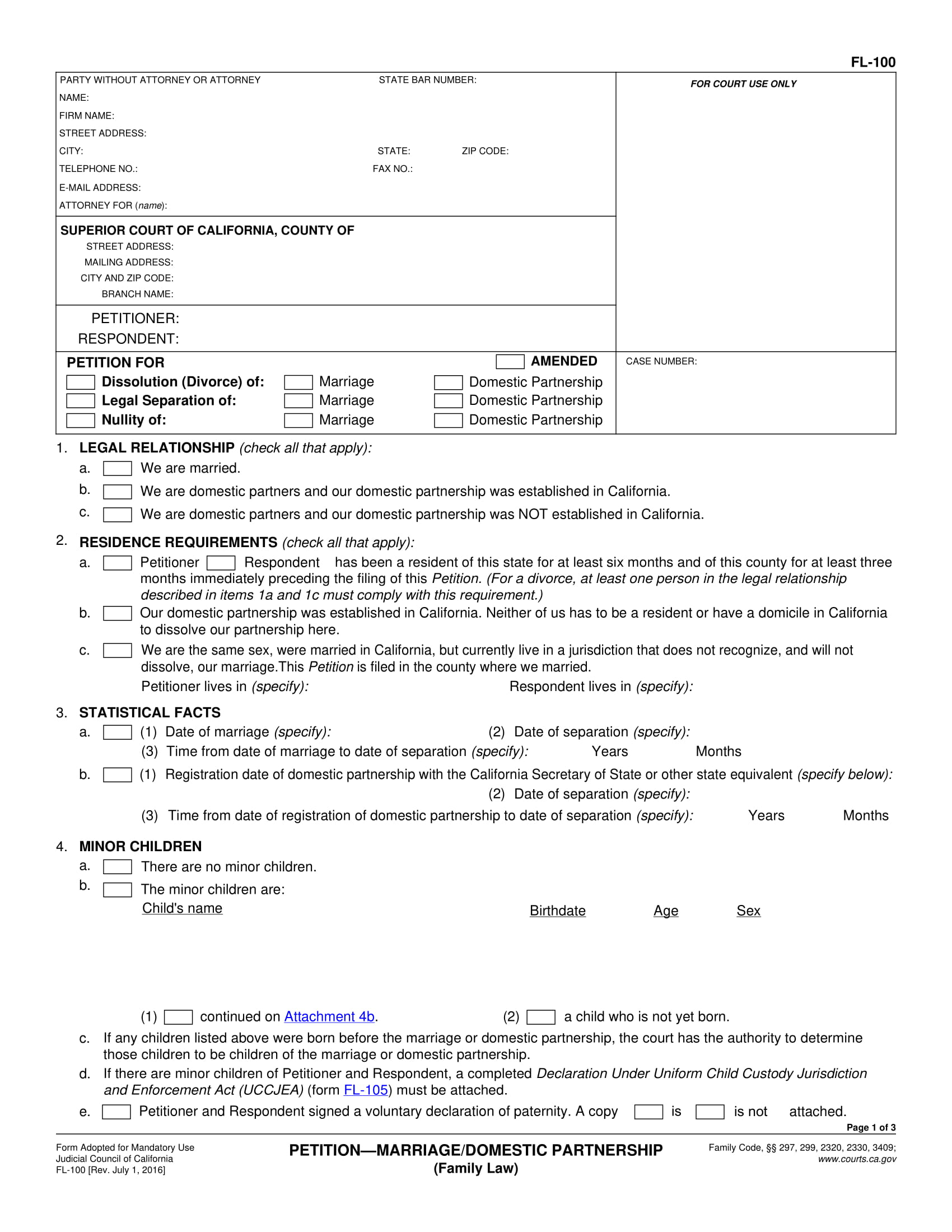 marriage or domestic partnership petition form 1