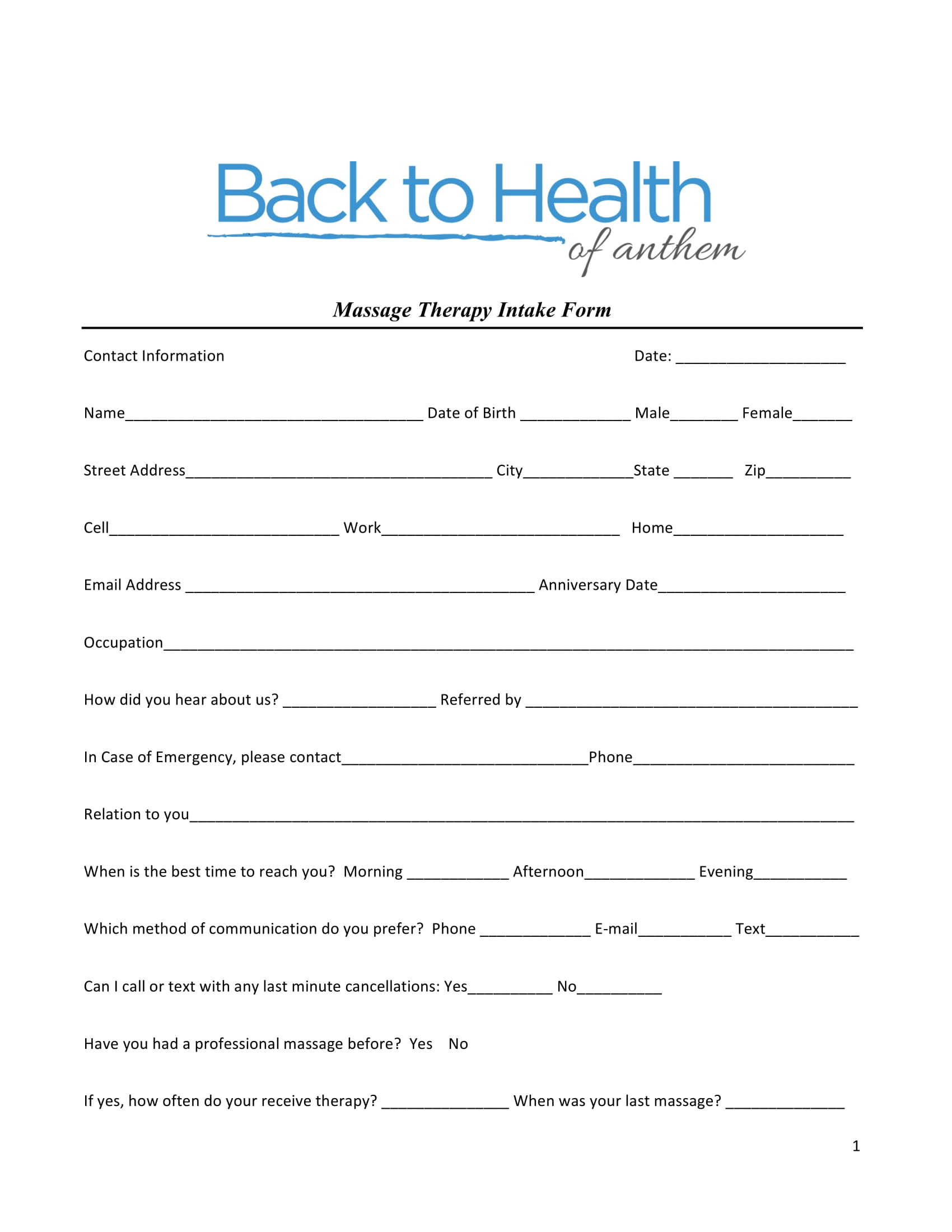 massage therapy intake form 1