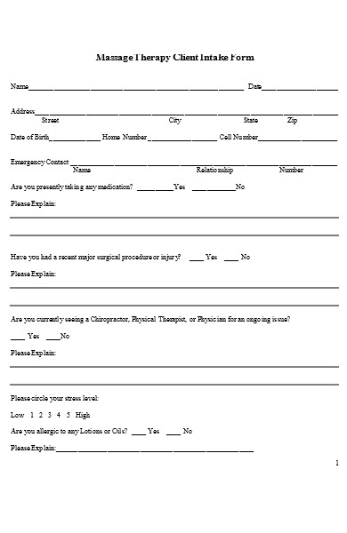 massage therapy intake form