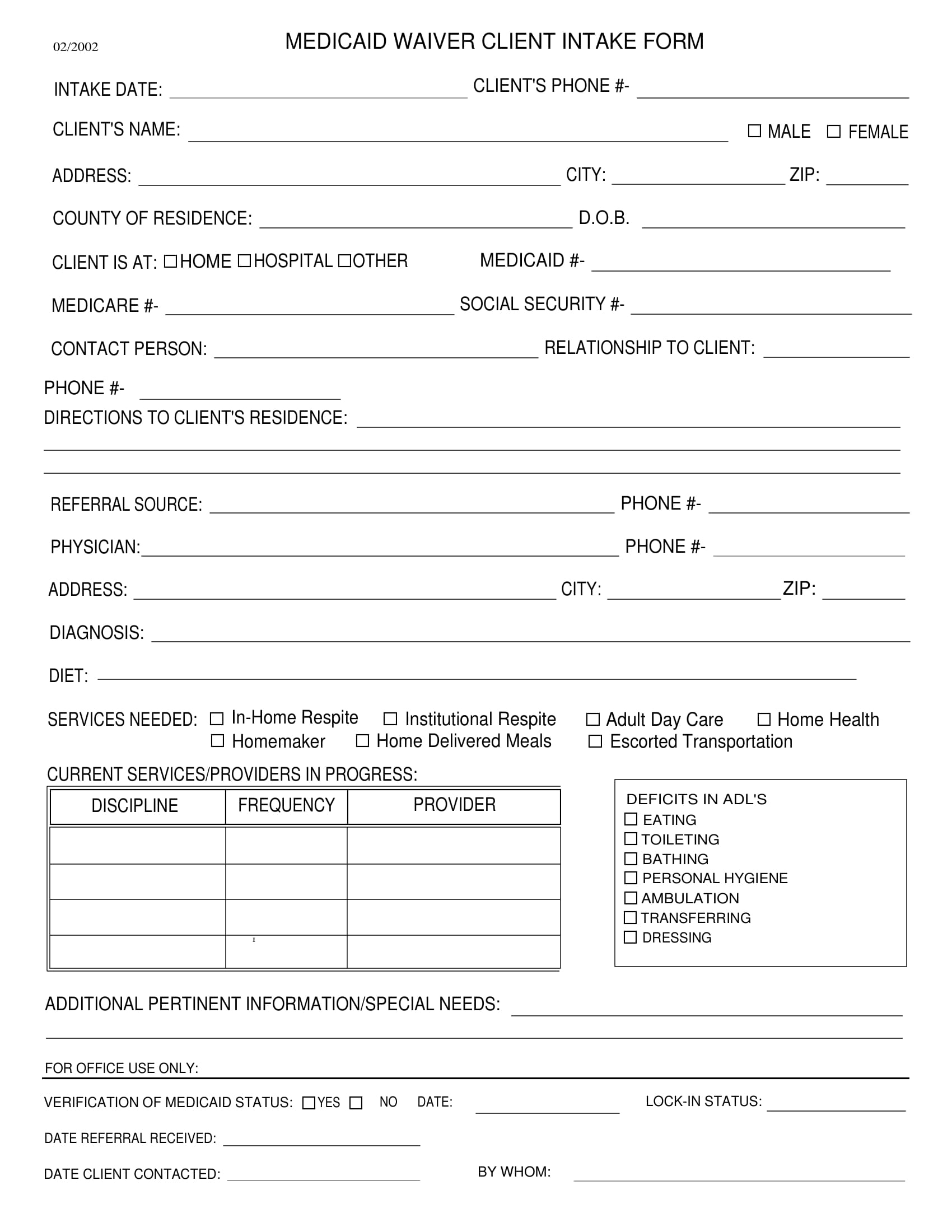medicaid waiver client intake form 1