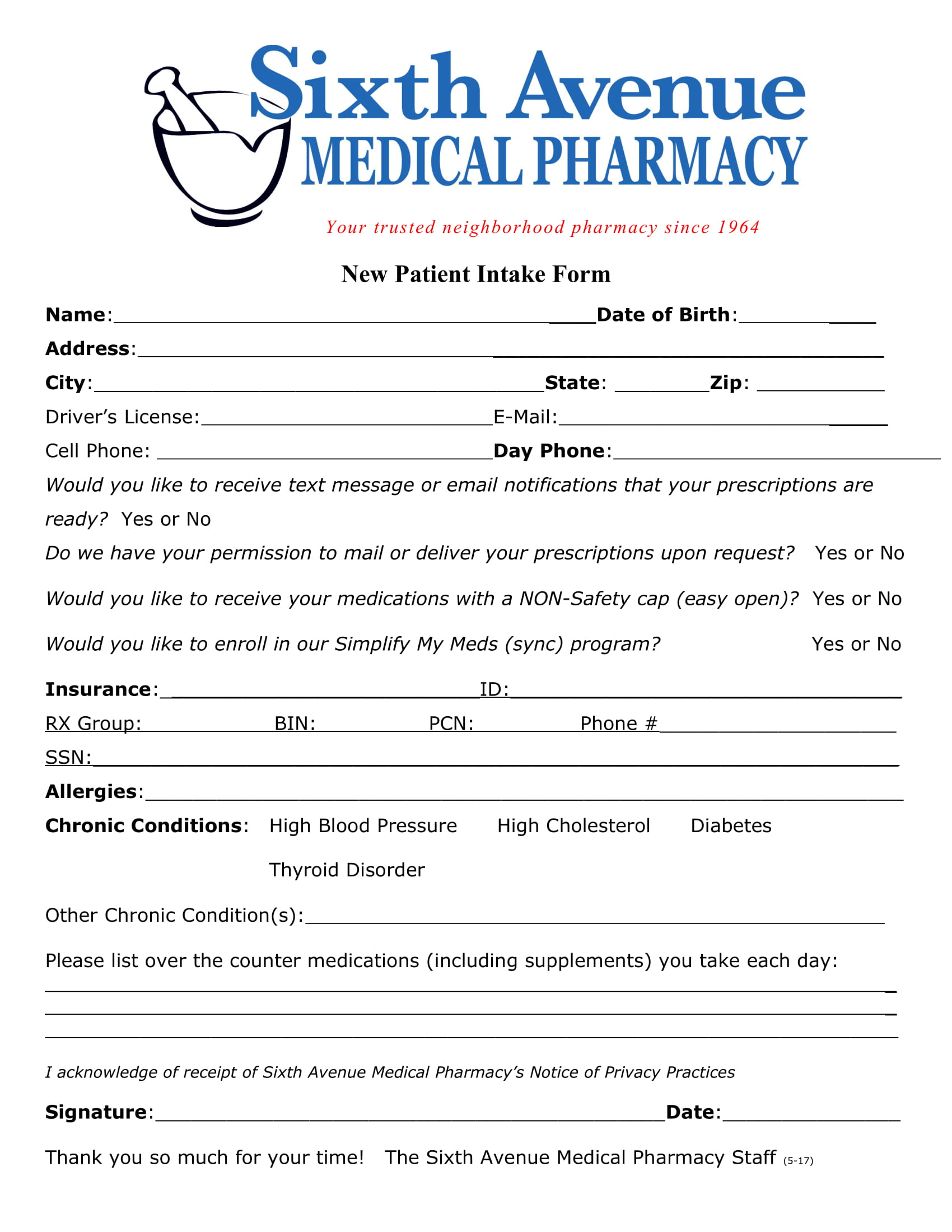 medical pharmacy new patient intake form 1