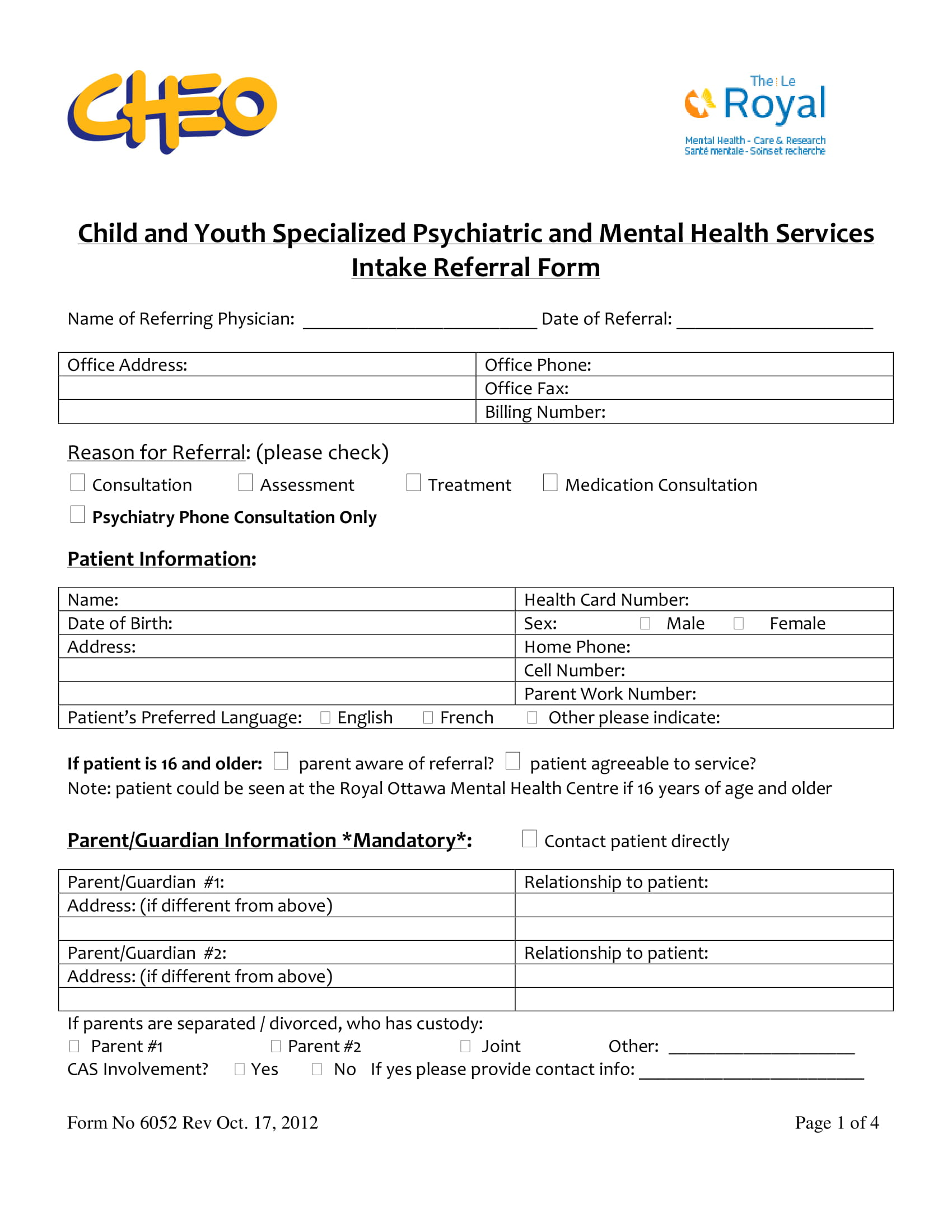 mental health intake form template