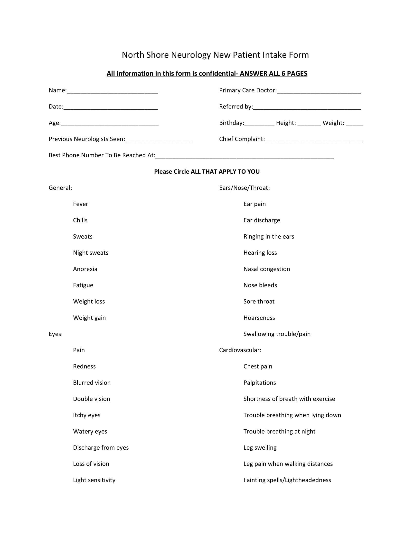 neurology new patient intake form 1