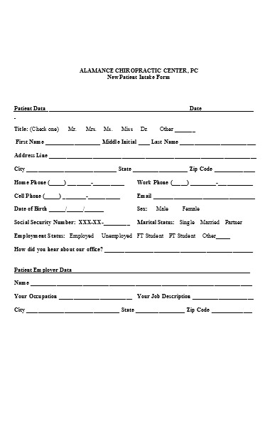 new clinic patient intake form