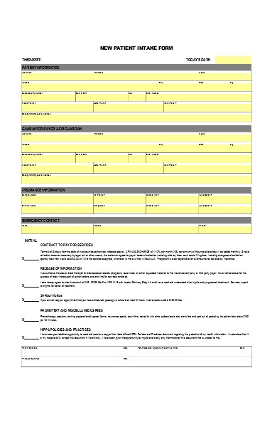 new patient intake form sample