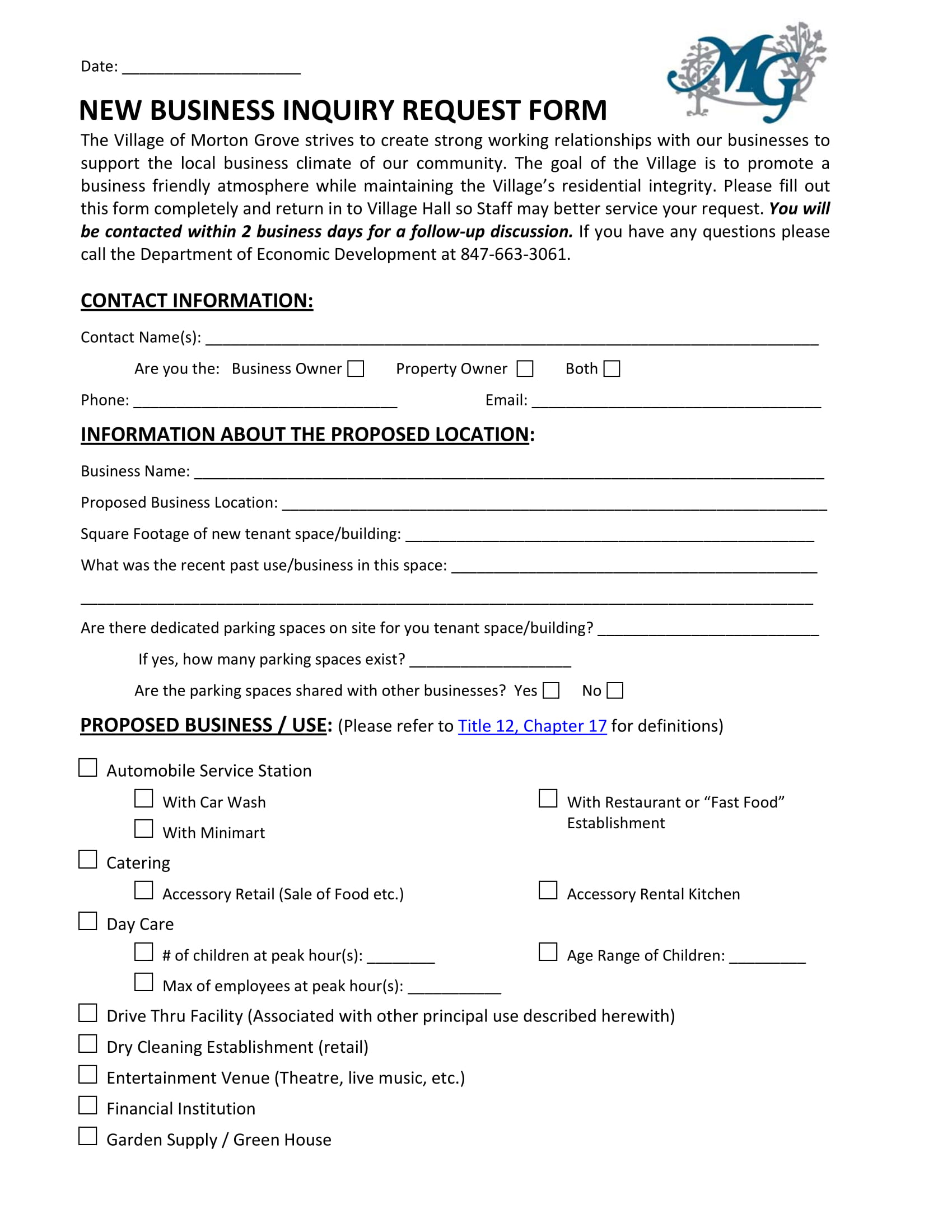 new restaurant business inquiry requisition form 1