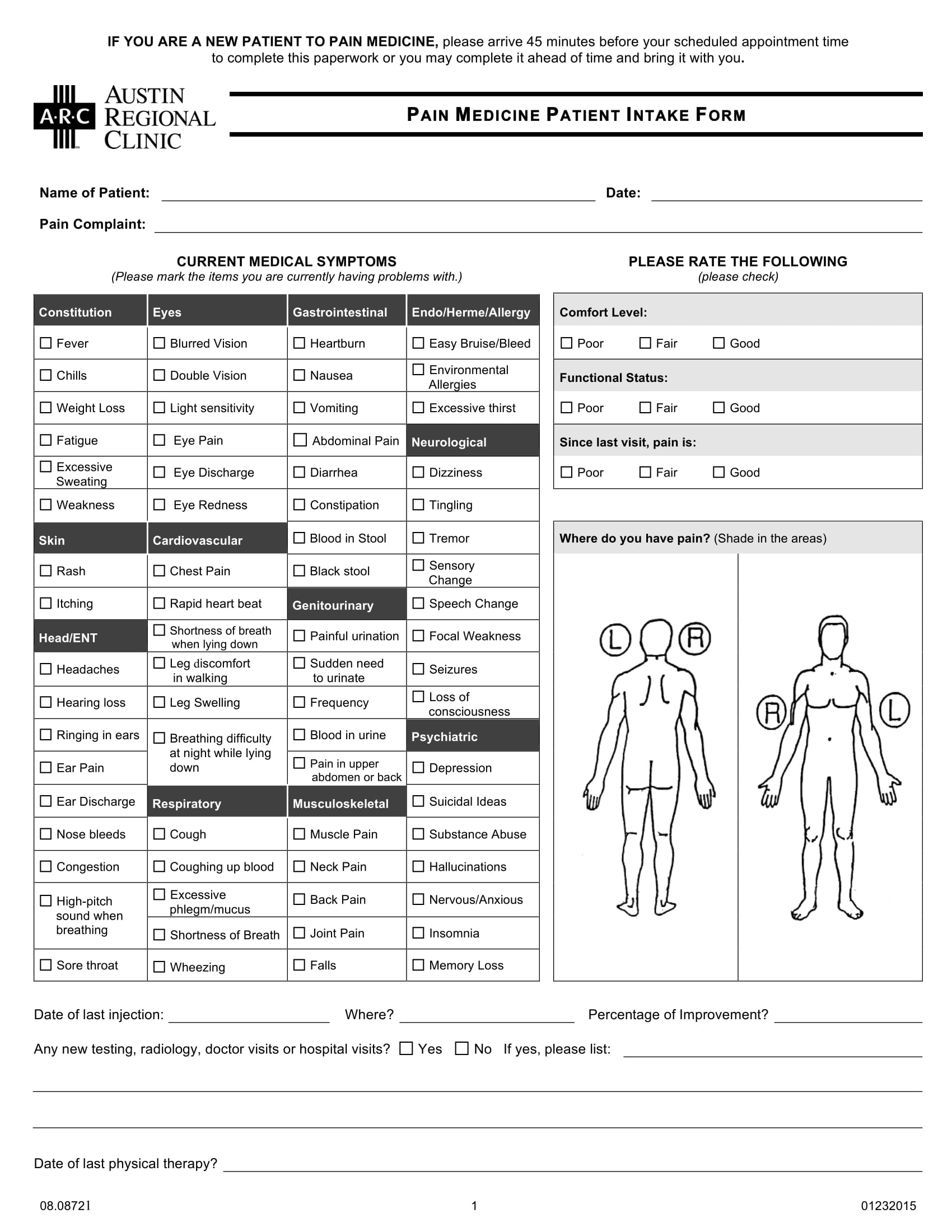 pain medicine patient intake form 1