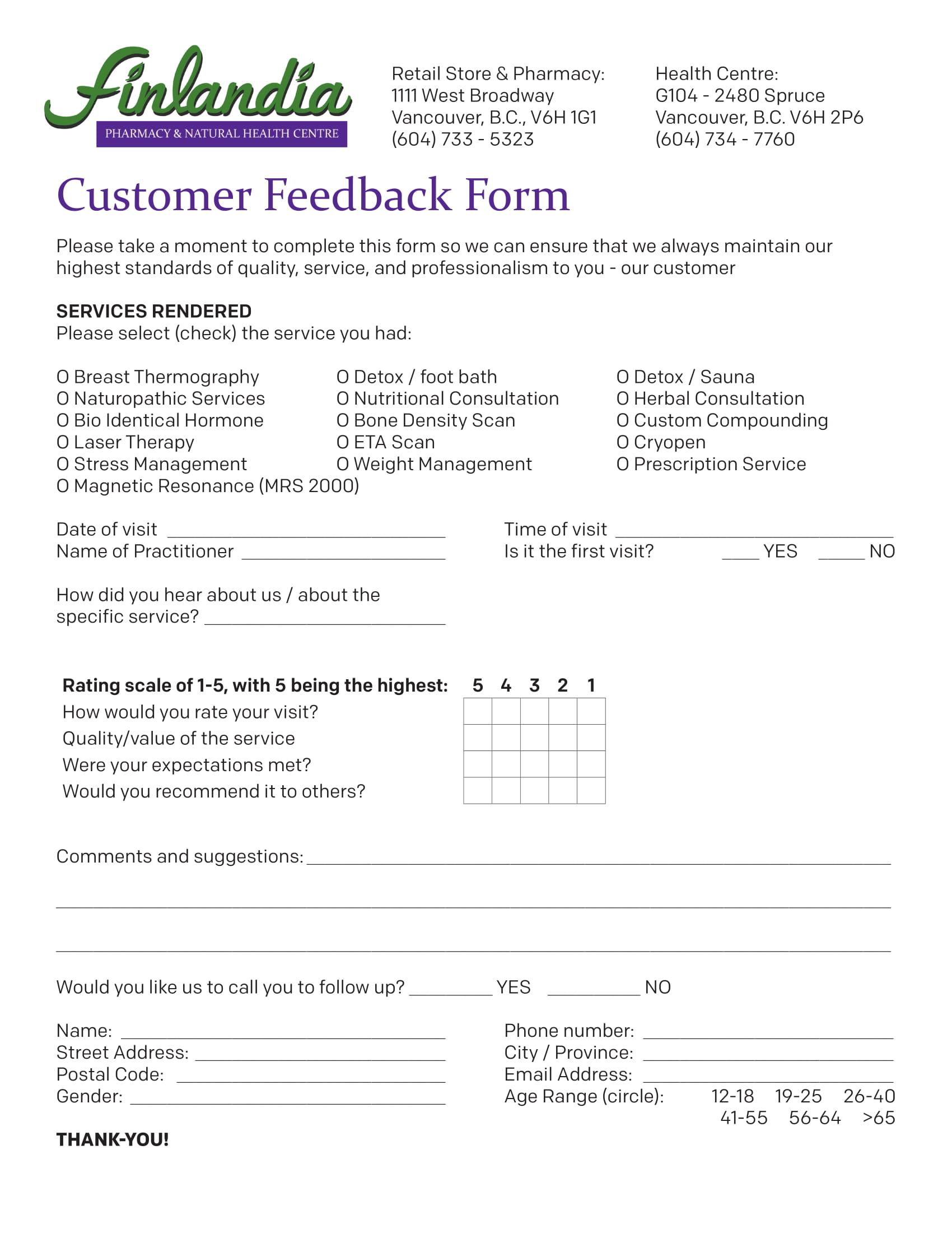 pharmacy customer feedback form 1