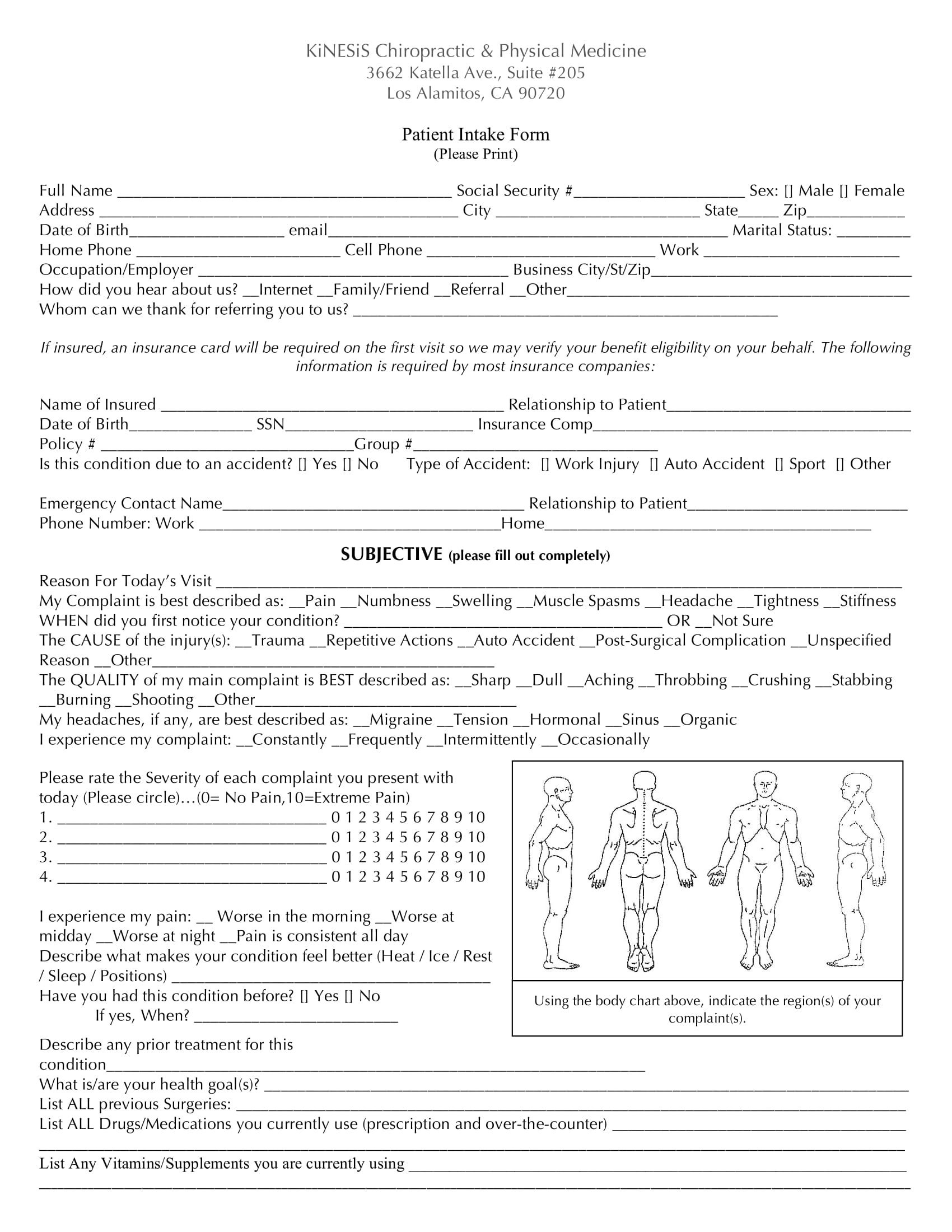 physical medicine patient intake form 1