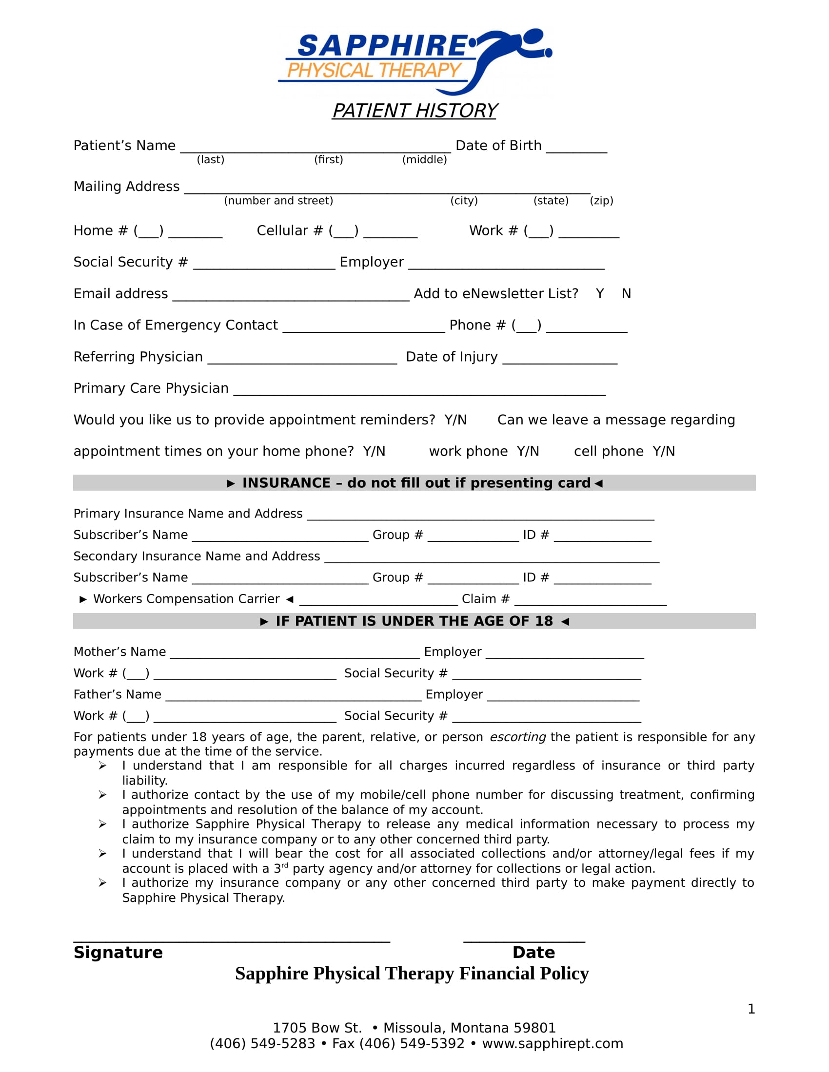 physical therapy patient intake form in doc 1