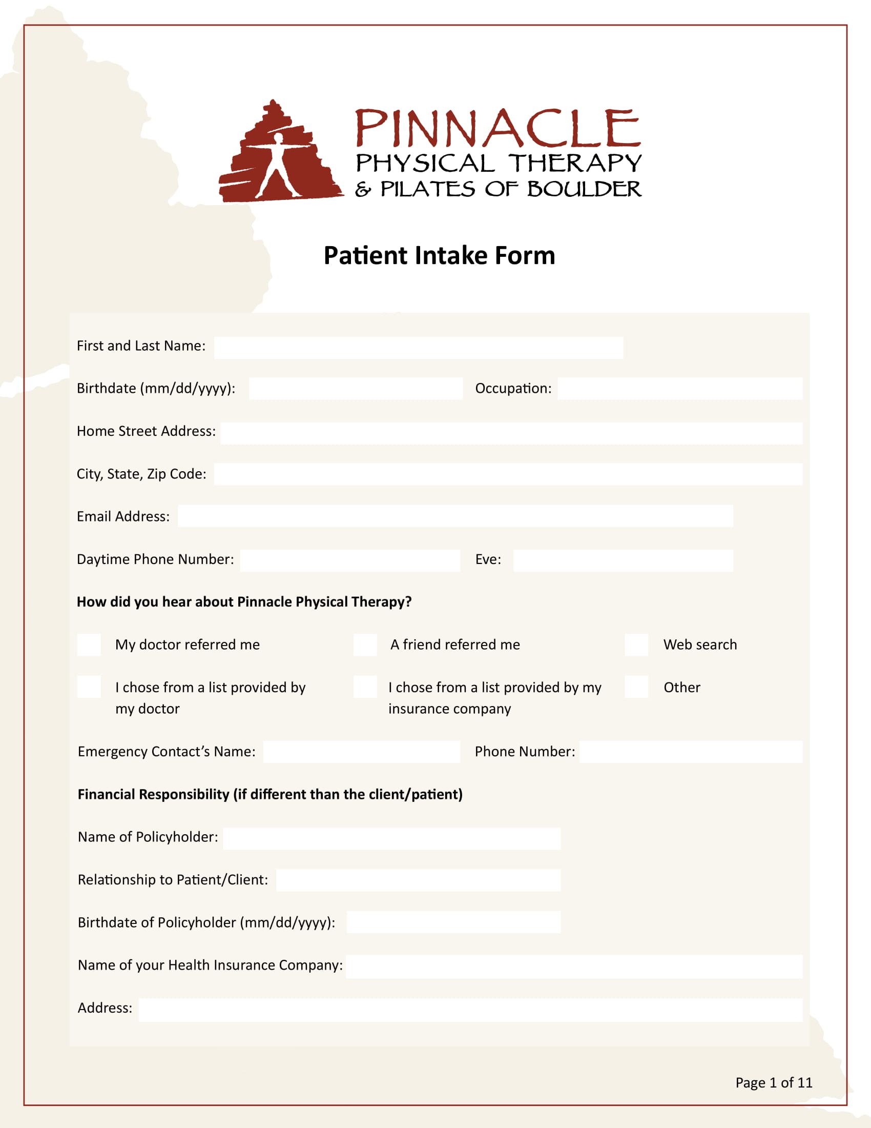 FREE 5+ Physical Therapy Intake Forms in PDF | MS Word
