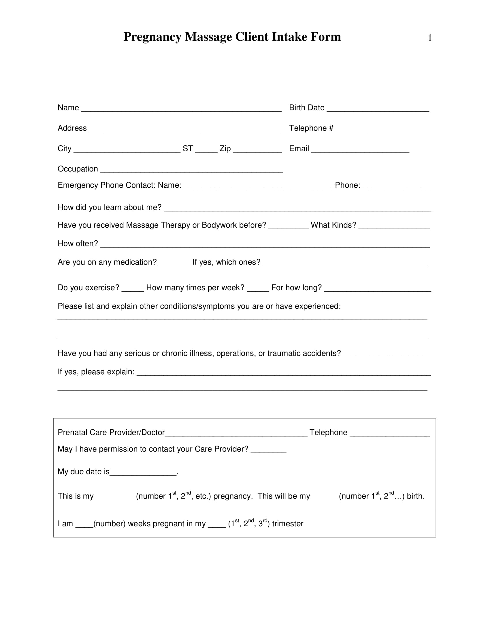 pregnancy massage client intake form 1