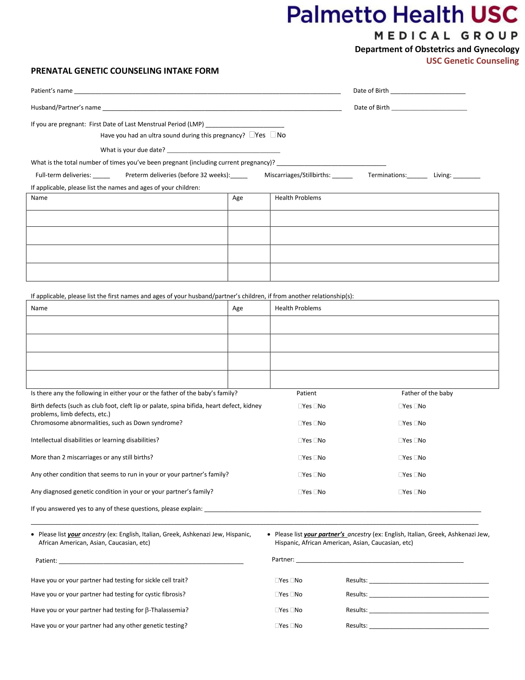 prenatal genetic counseling intake form 1