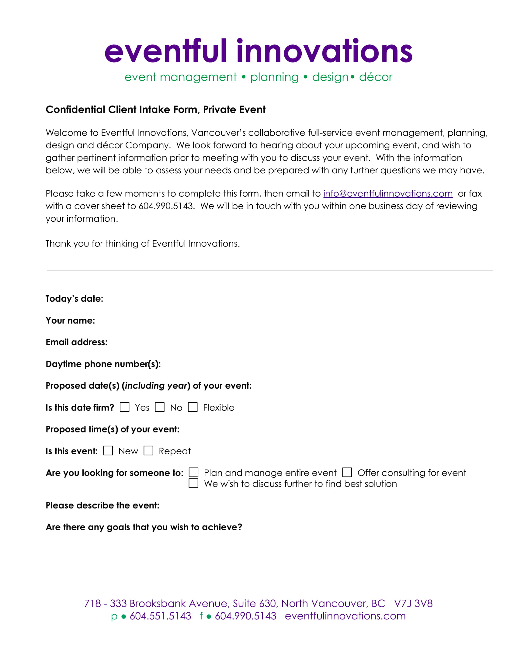 private event client intake form 1