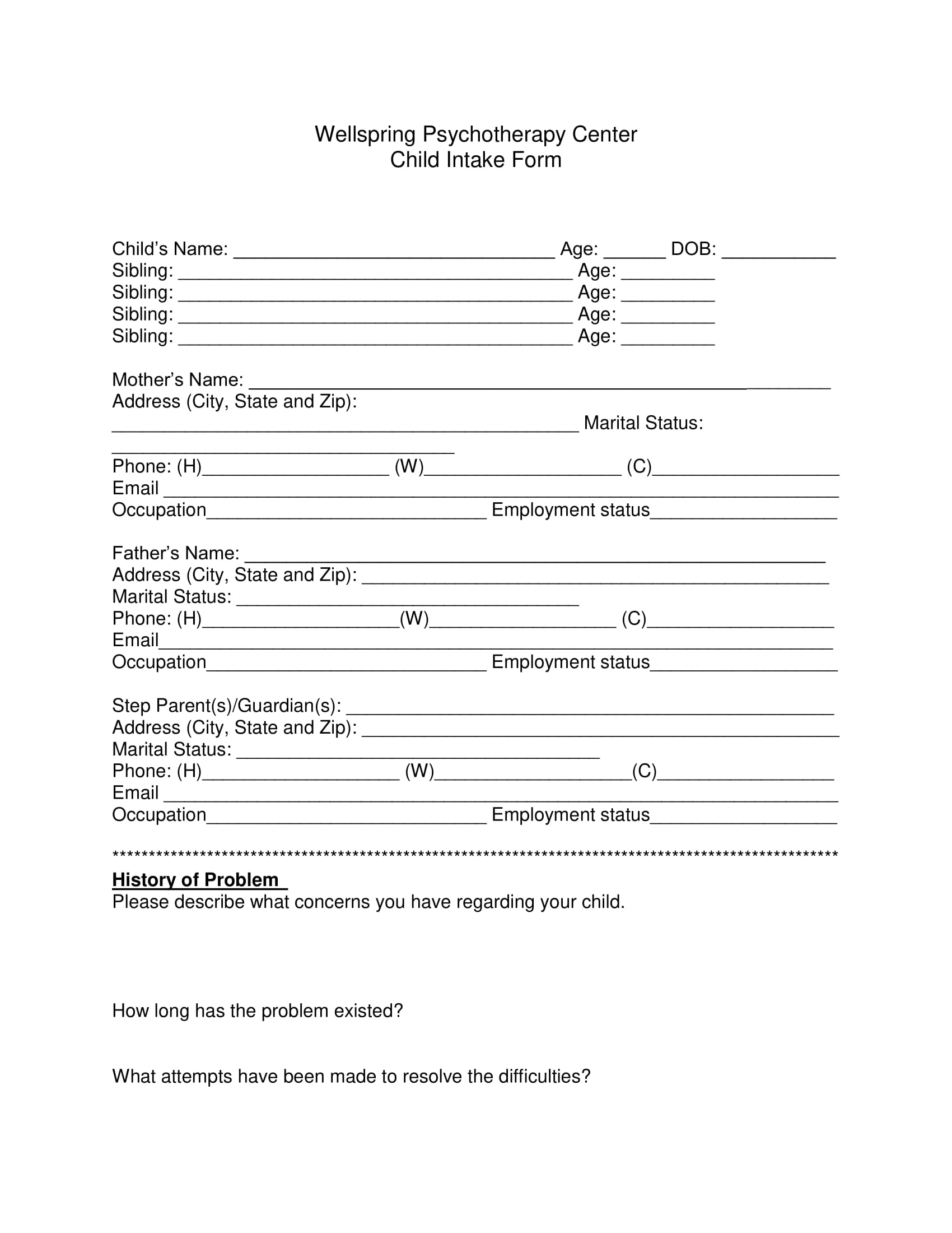 psychotherapy child intake form 1
