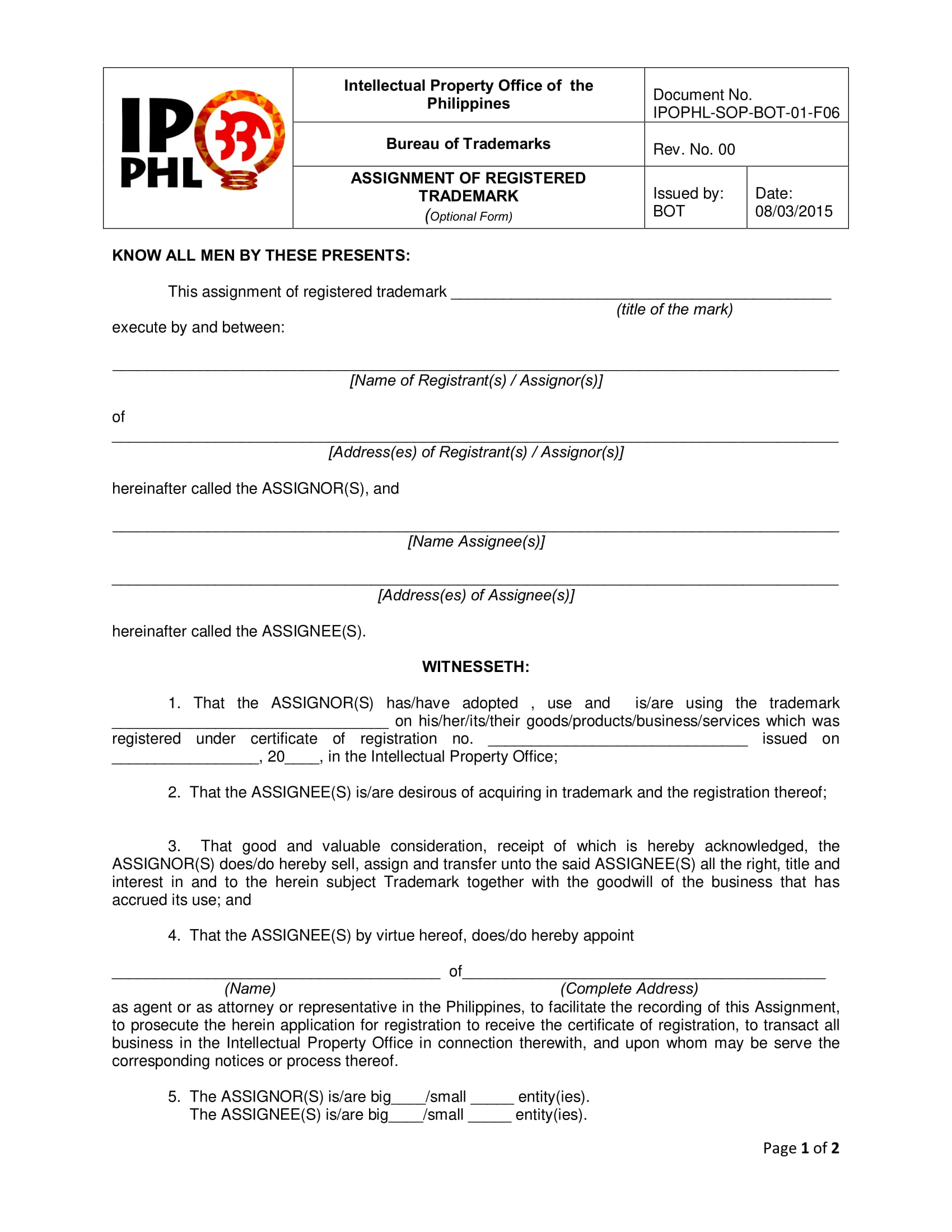 Superb Registered Trademark Assignment Form