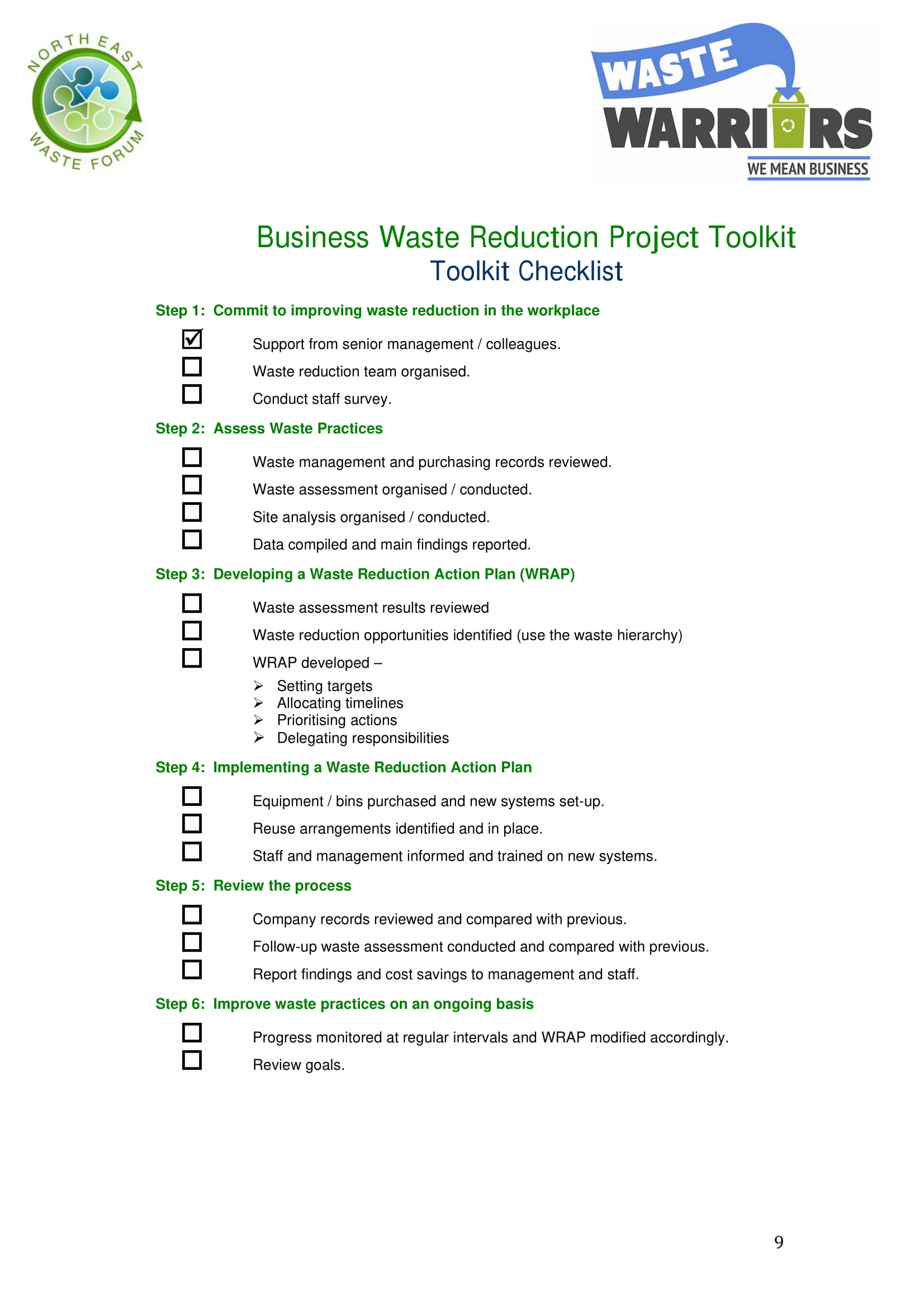 restaurant business waste reduction checklist form 09